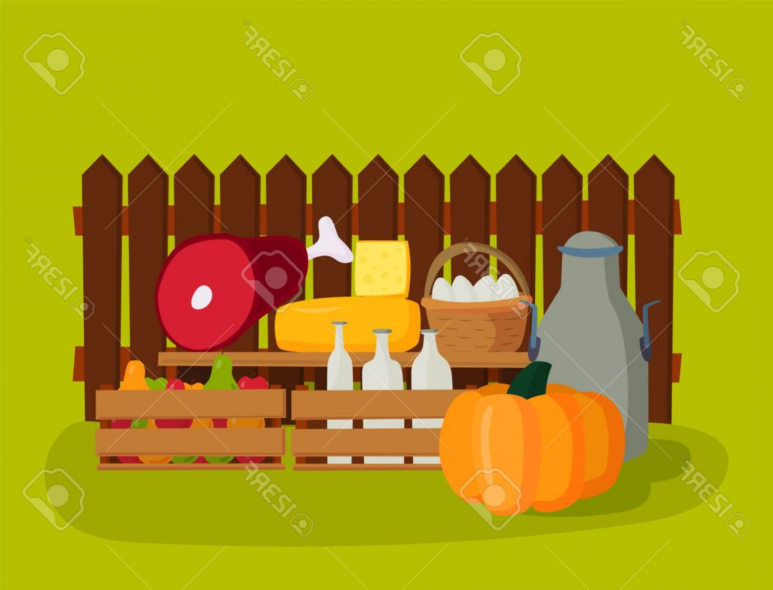 Farm Vector Illustration: Photostock Vector Farm Vector Illustration Nature Food Harvesting Grain Agriculture Growth Cultivated Design