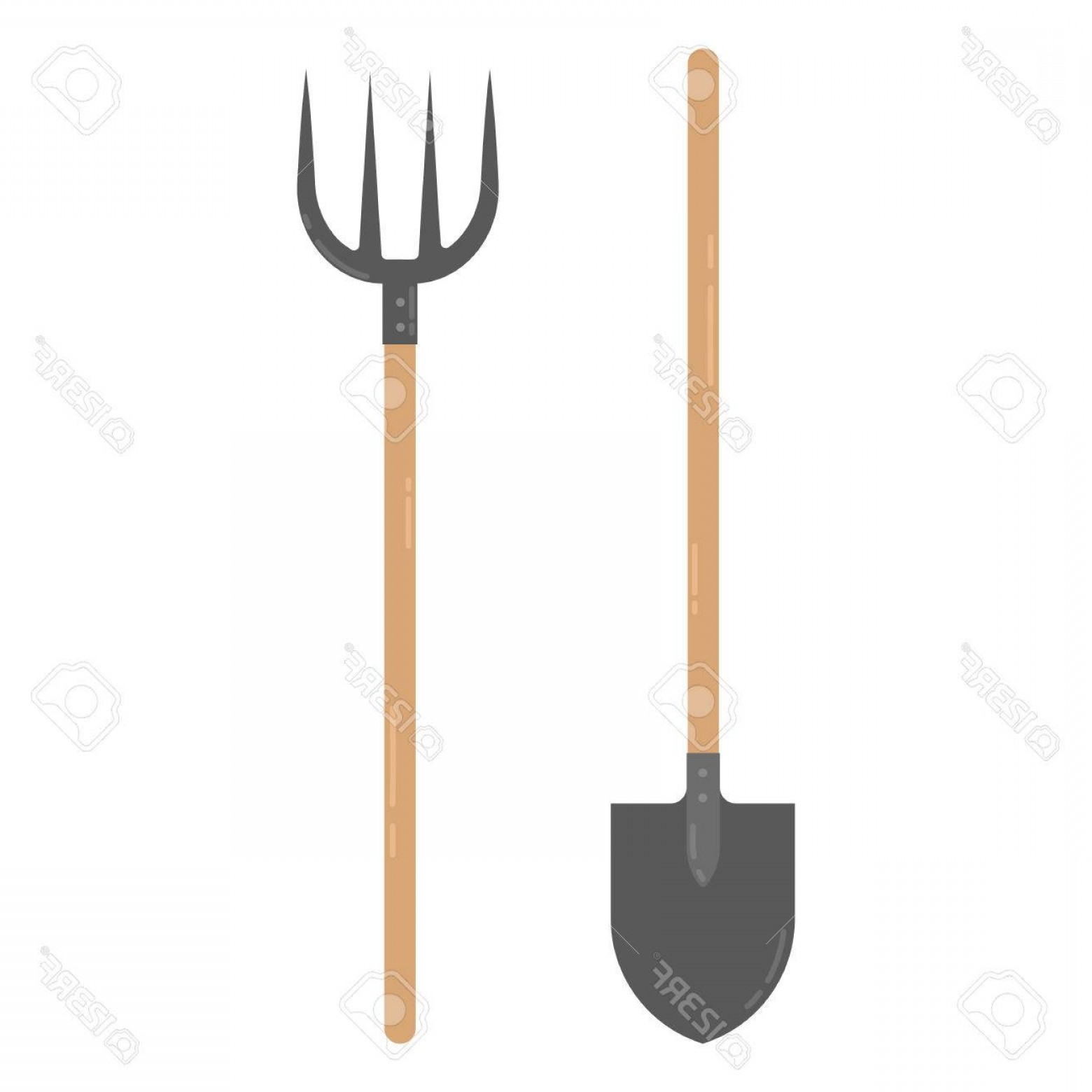 Shovel Vector: Photostock Vector Farmers Shovel And Pitchfork