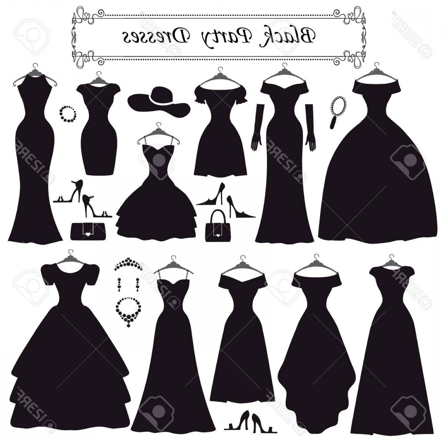 Vector Styles: Photostock Vector Fashion Dress Different Styles Of Black Party Dress Silhouette Set Composition Made In Modern Flat V