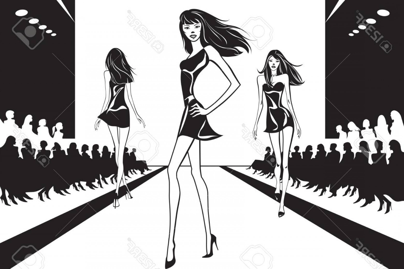 Fashon Shows Vectores: Photostock Vector Fashion Models At Catwalk On Review Vector Illustration