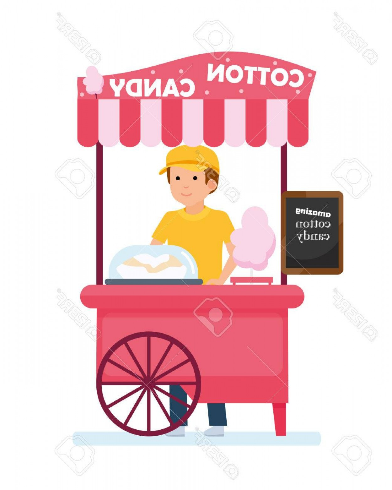Candy Seller Vector: Photostock Vector Fast Food Cart Cotton Candy Cart With Seller Amusement Park Vector Illustration In A Flat Cartoon St