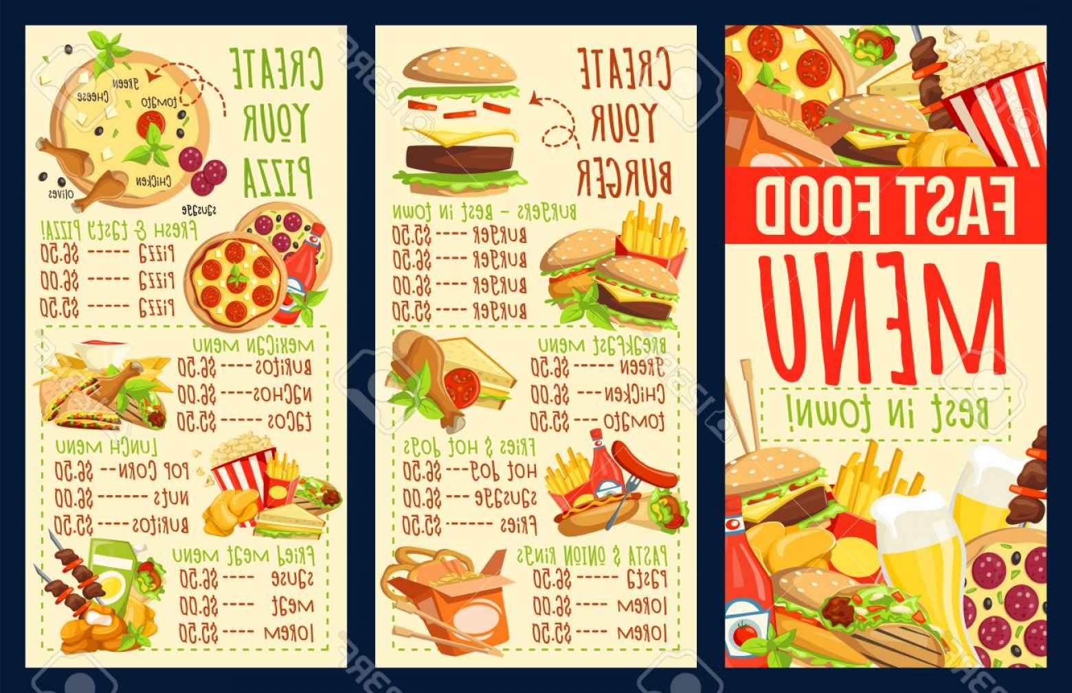 Food Vectors 50 S: Photostock Vector Fast Food Menu Of Fastfood Snacks And Meals Cafe Restaurant Or Bistro Vector Dollar Price Of Burgers