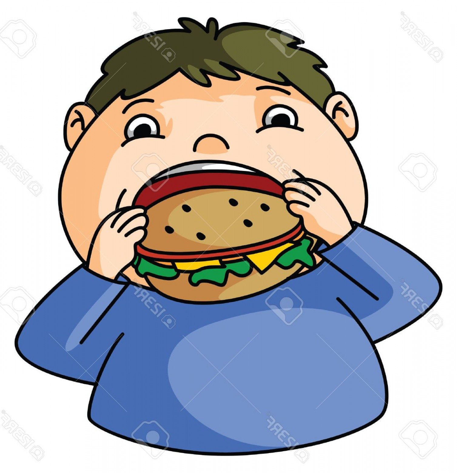 Fat Boy Logo Vector Art: Photostock Vector Fat Boy Eat Burger