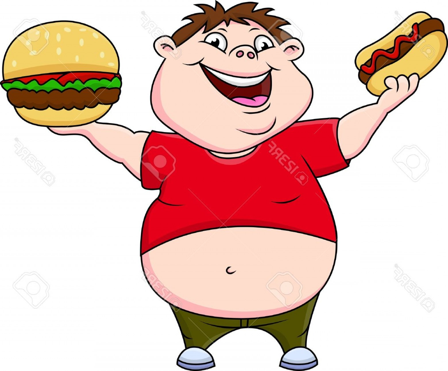 Fat Boy Logo Vector Art: Photostock Vector Fat Boy Smiling And Ready To Eat Hotdog And Hamburger