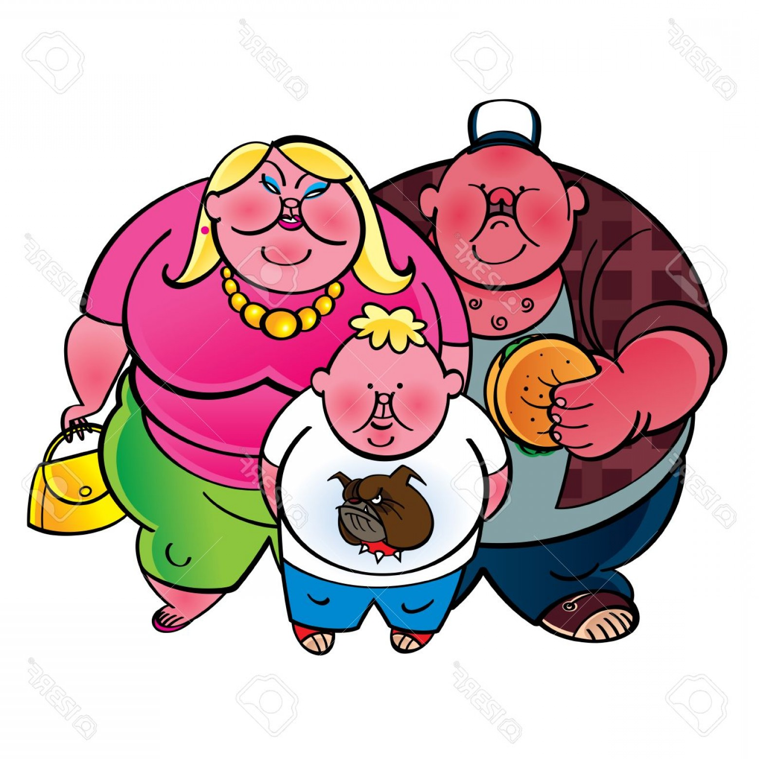 Redneck Family Vector Graphic: Photostock Vector Fat Family Father Mother And Son
