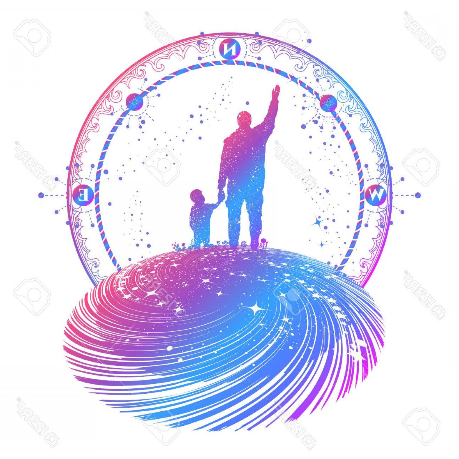 Sacred Heart Vector Genius: Photostock Vector Father And Son Color Tattoo Art Happy Family Of The Future Father Teaches Son To Dream Life Educatio