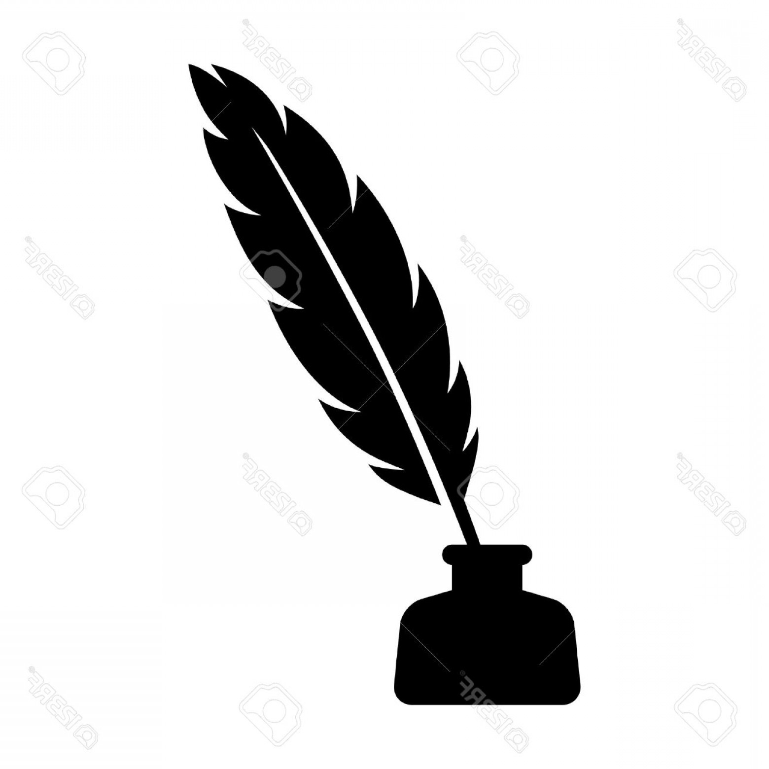 Quill Pen Vector: Photostock Vector Feather Quill Pen With Inkpot Flat Icon For Apps And Websites