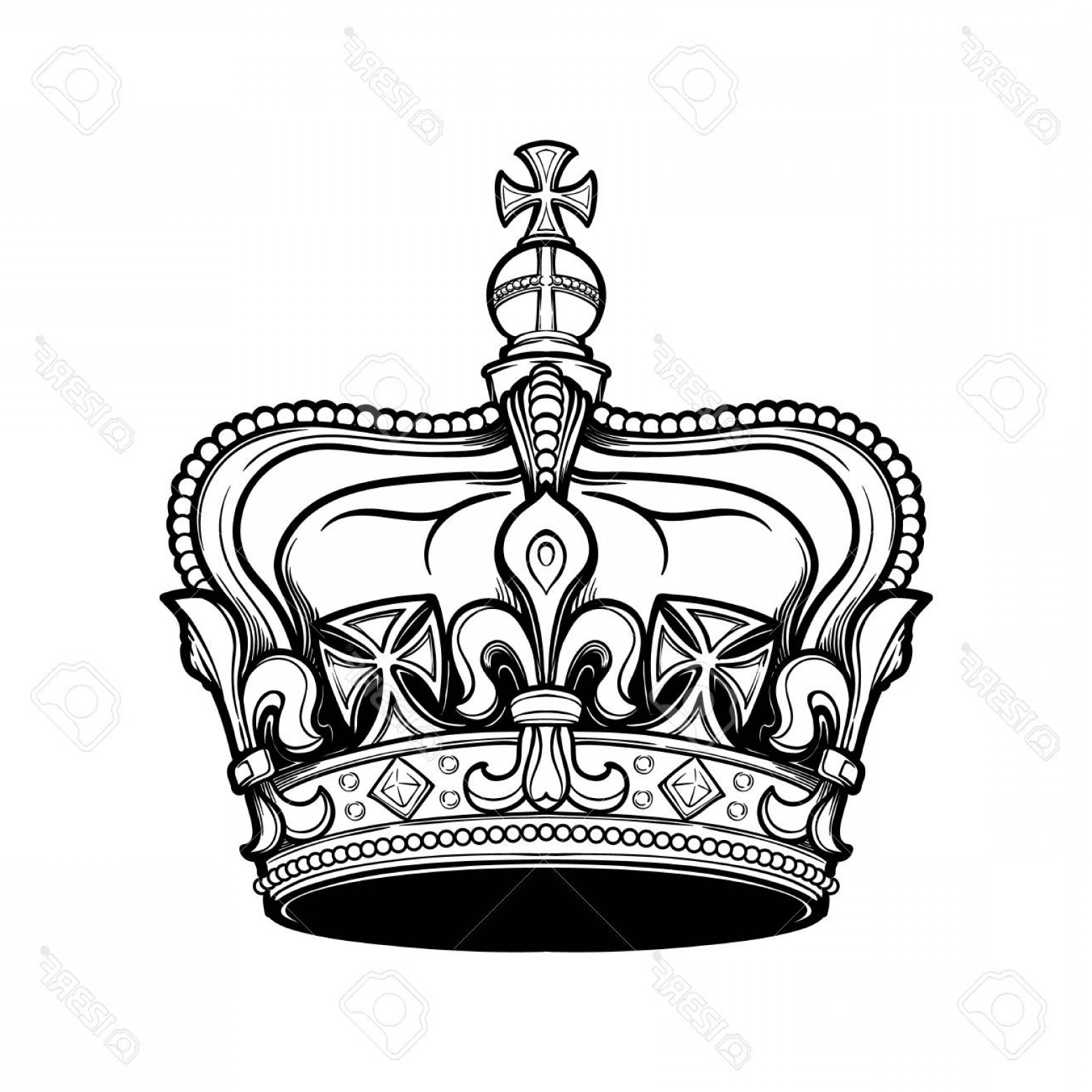 Detailed Tattoo Vector Images: Photostock Vector Filigree High Detailed British Imperial Crown Element For Design Logo Emblem And Tattoo Vector Illus