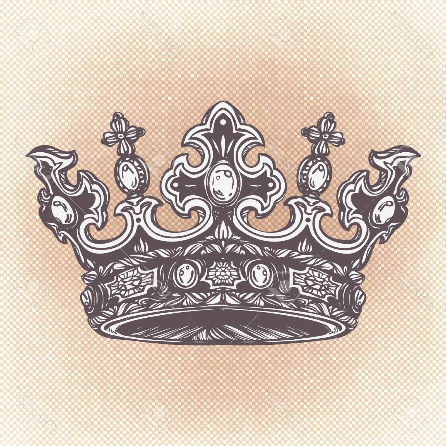 Detailed Tattoo Vector Images: Photostock Vector Filigree High Detailed Imperial Crown Element For Design Logo Emblem And Tattoo Vector Illustration