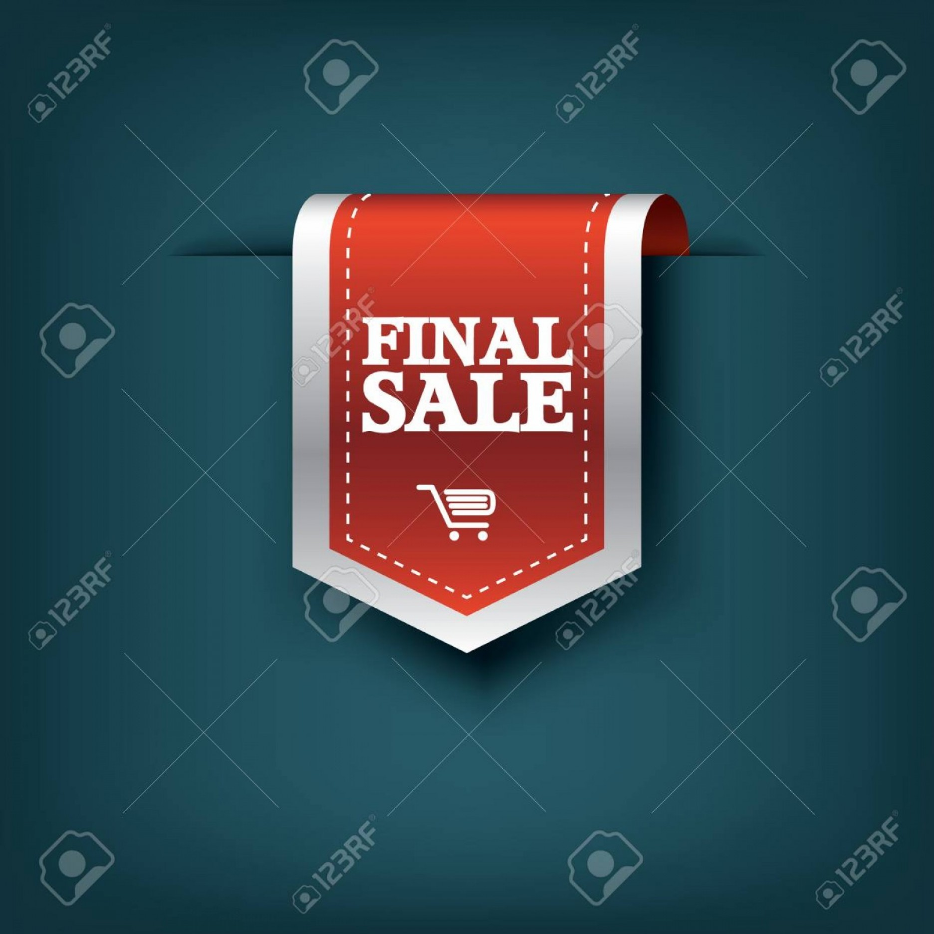 Cross And Ribbon Vector: Photostock Vector Final Sale Red Ribbon Vector Tag Icon For Product Promotion And Shopping Bookmark D Design With Rea