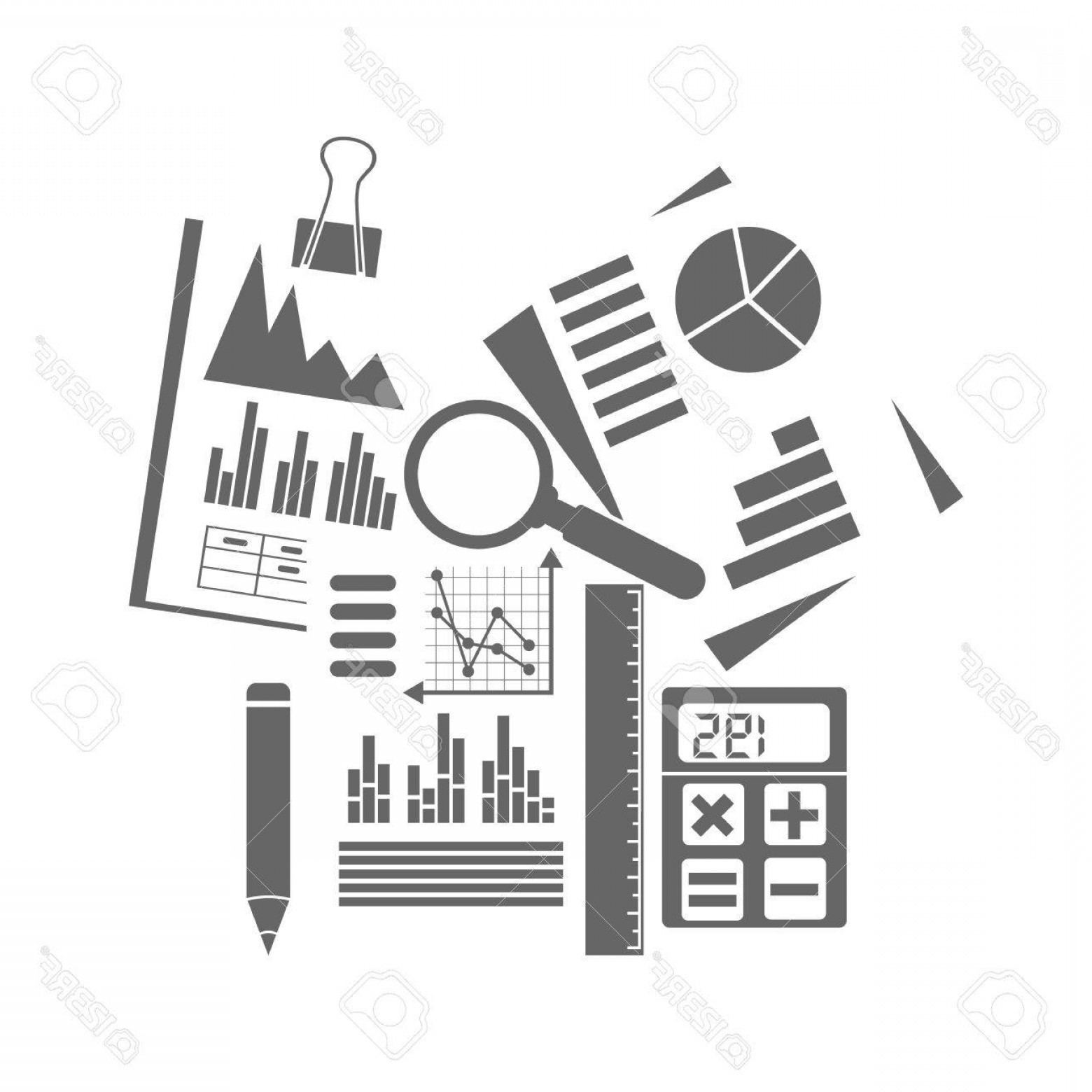 Vector Black And White Organization: Photostock Vector Financial Accounting Concept Organization Process Analytics Research Budget Planning Report Market A