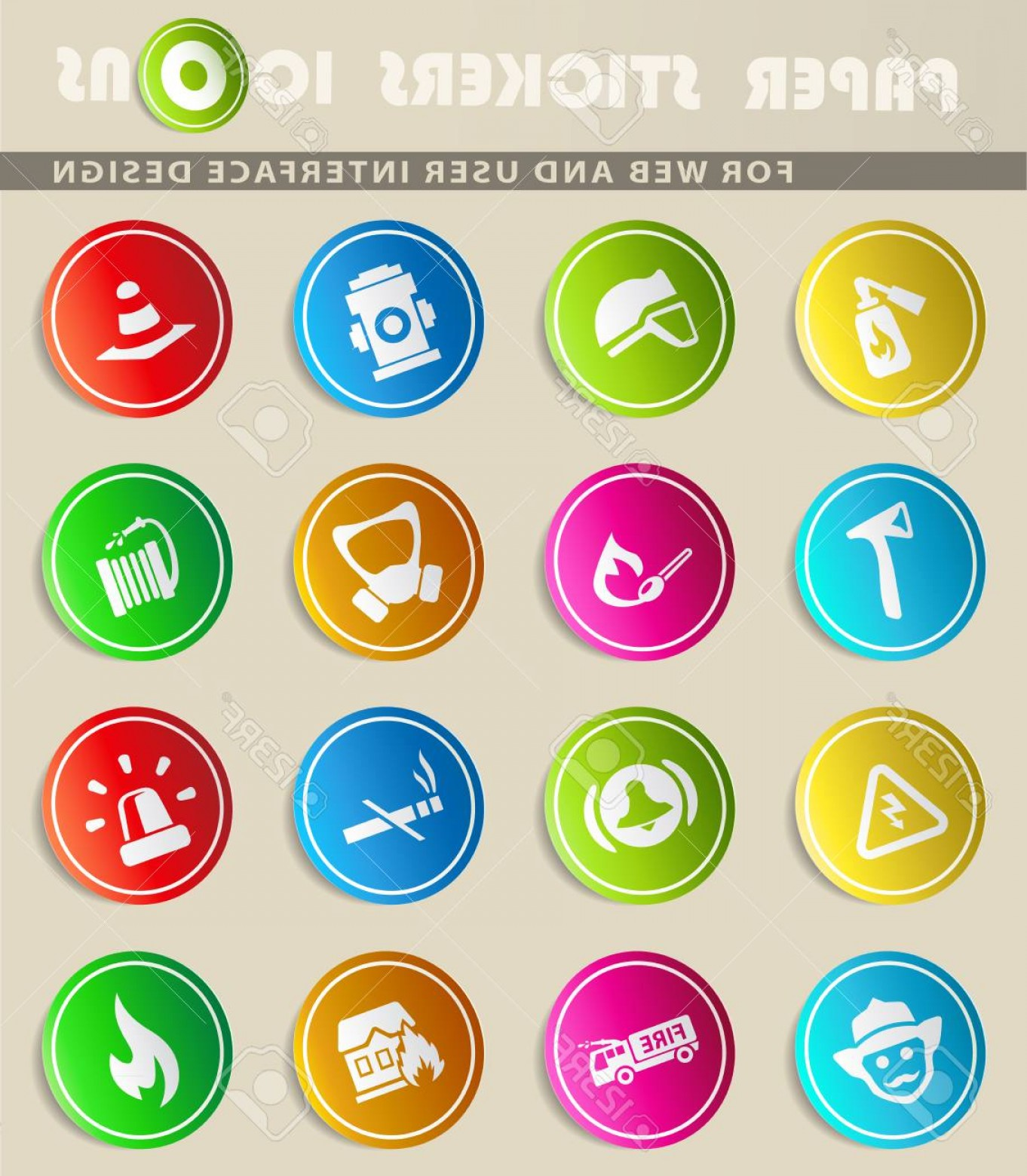Vector Icons For Designers: Photostock Vector Fire Brigade Vector Icons For User Interface Design