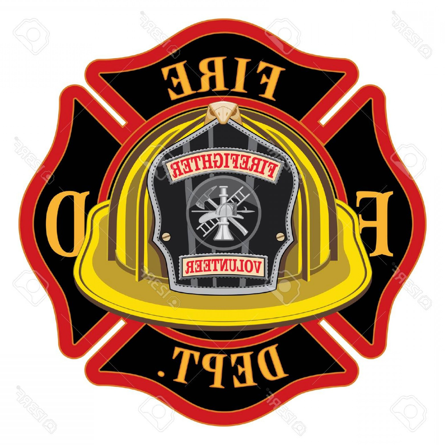 Fire Maltese Vector: Photostock Vector Fire Department Cross Volunteer Yellow Helmet Is An Illustration Of A Fireman Or Firefighter Maltese