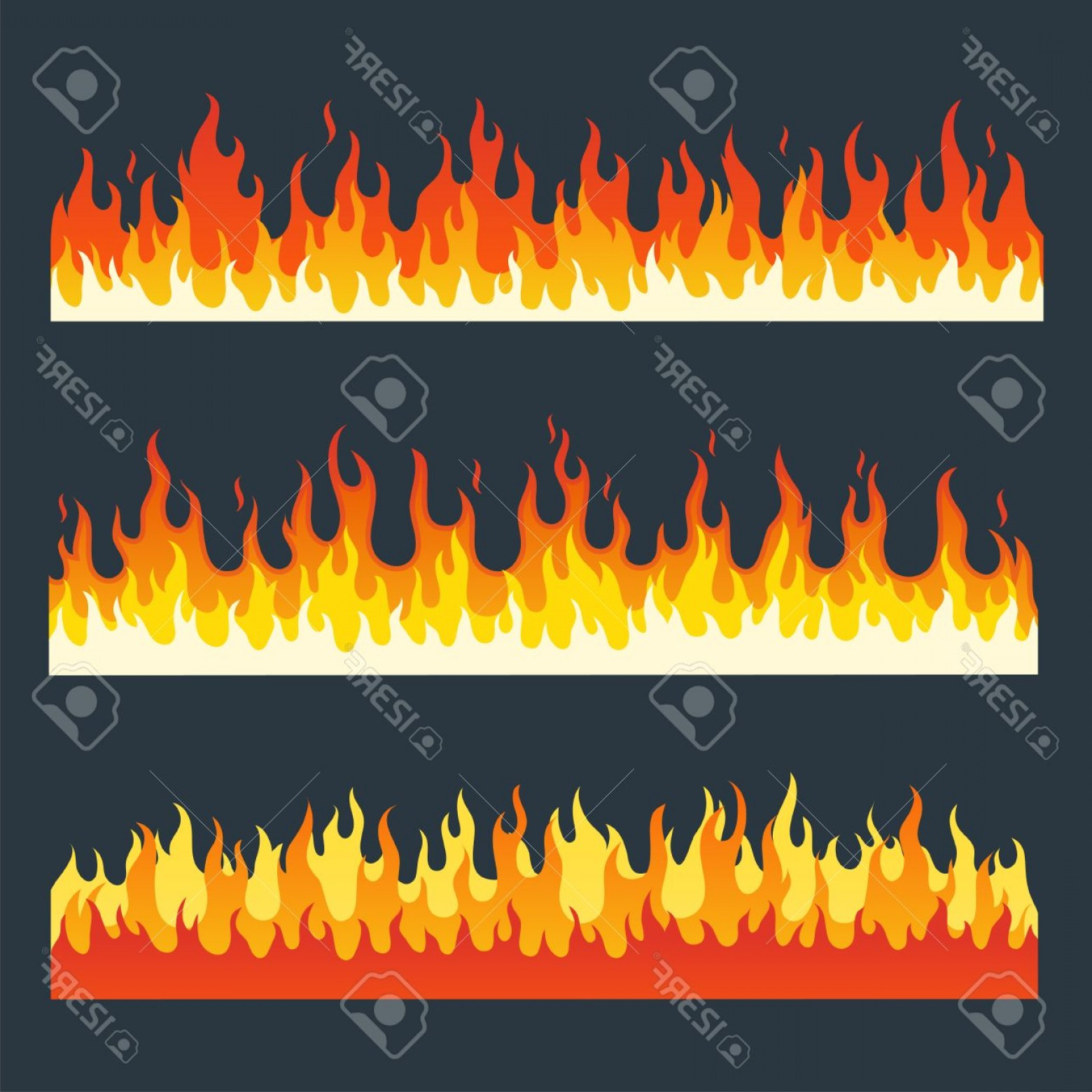 Cartoon Fire Flames Vector: Photostock Vector Fire Flames Set In A Flat Style Cartoon Burning Fire Flame Fire Flames Isolated On A Dark Background