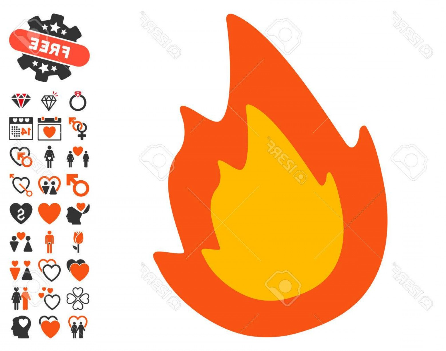 Fire Clip Art Vector: Photostock Vector Fire Pictograph With Bonus Lovely Clip Art Vector Illustration Style Is Flat Iconic Elements For Web