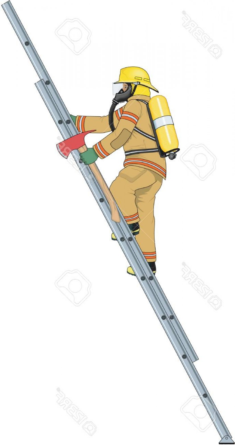 Maltese Cross Solid Vector: Photostock Vector Firefighter Climbing Ladder Illustration