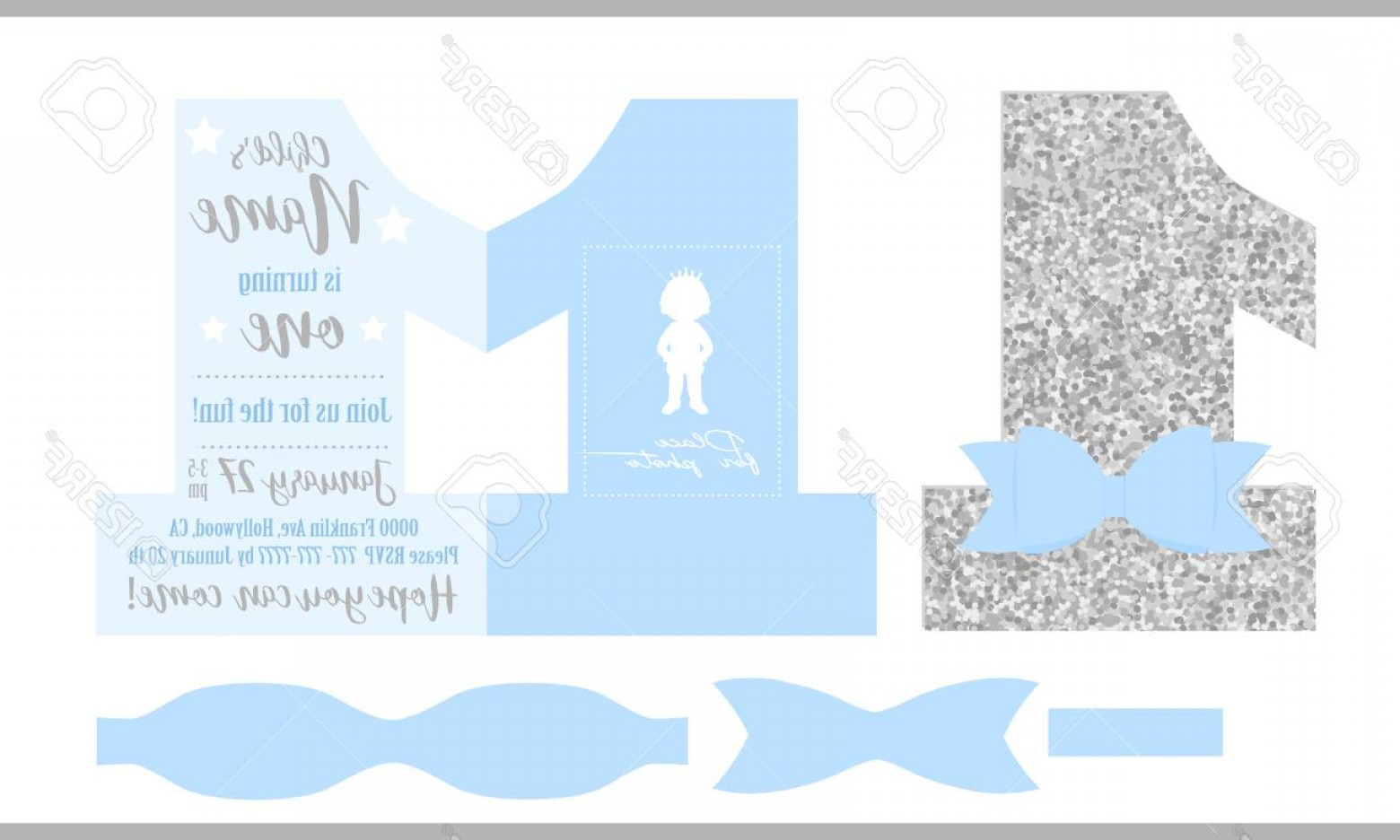 Silver Prince Vector: Photostock Vector First Birthday Boy S Party Printable Invitation Card For Little Prince Silver Glitter And Blue Shape