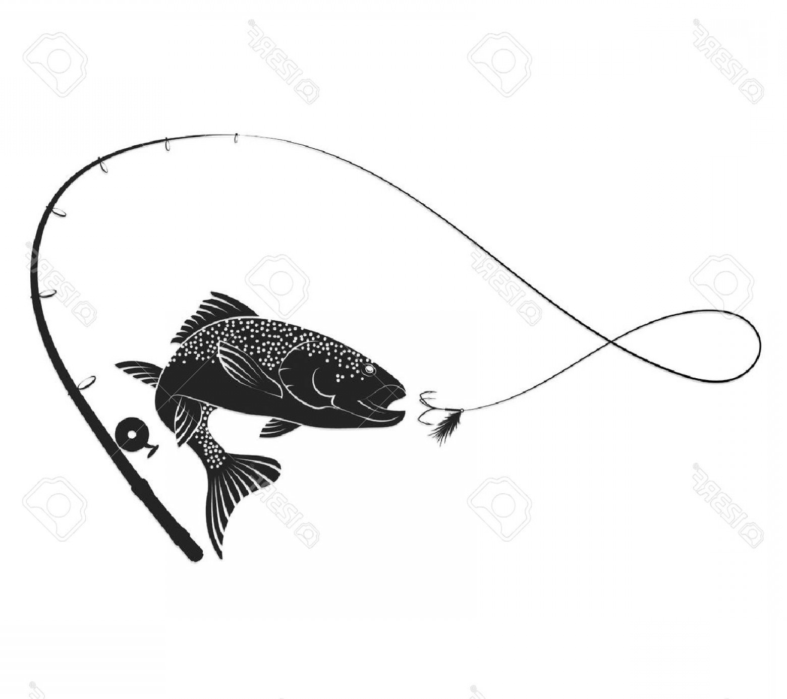 Fishing Pole Silhouette Vector: Photostock Vector Fish Jumping For Bait And Fishing Rod Silhouette