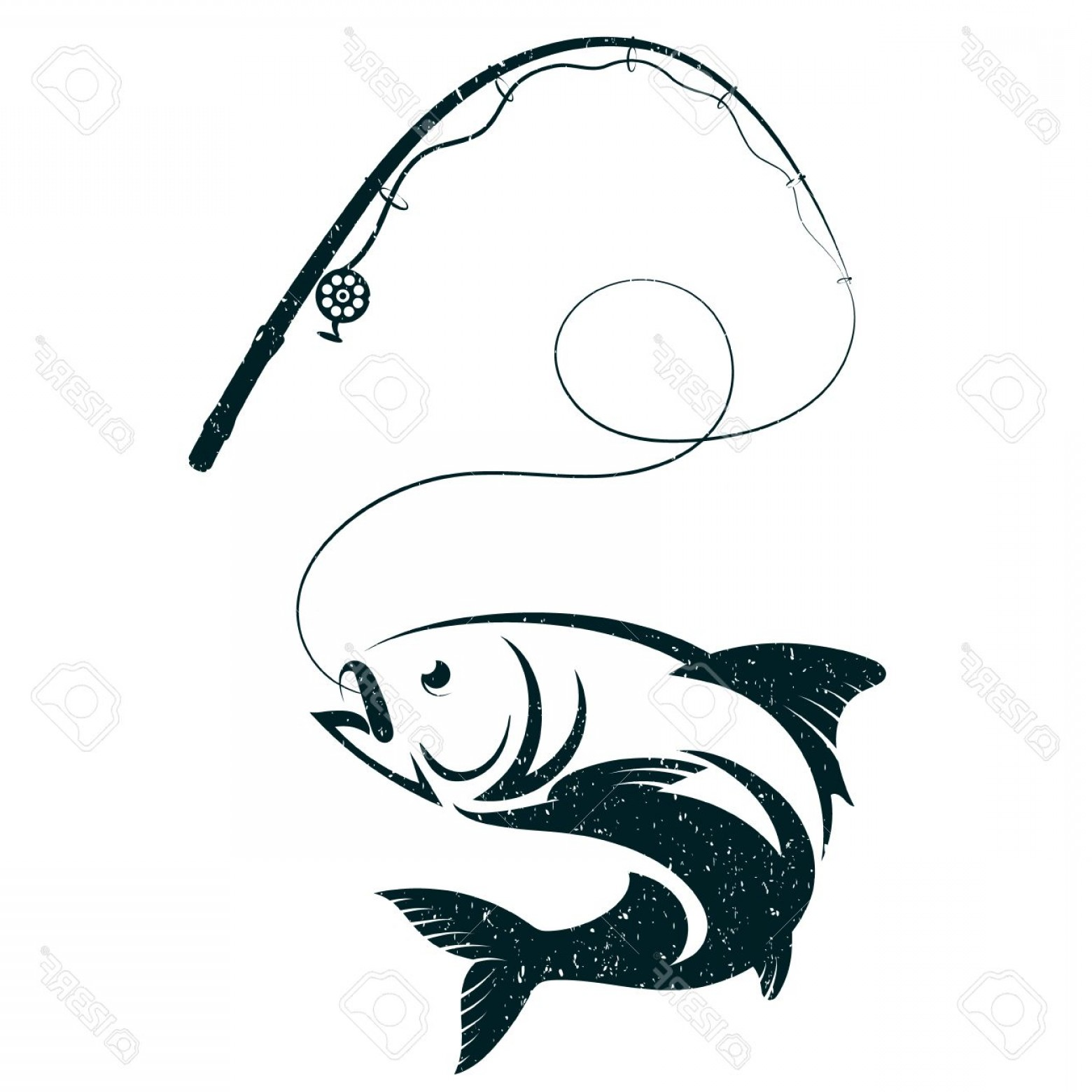 Fishing Pole Silhouette Vector: Photostock Vector Fish On Hook And Fishing Rod Silhouette Vector