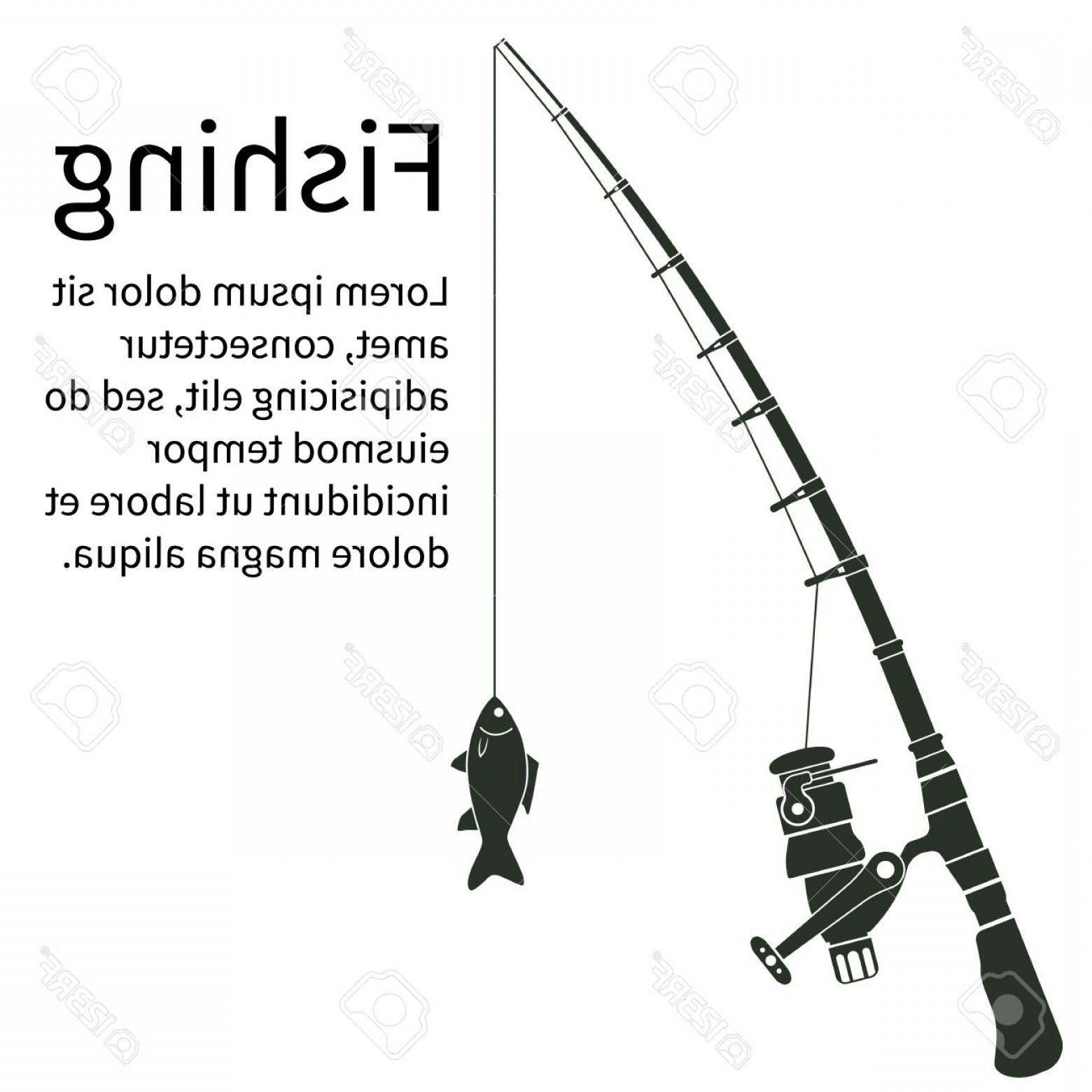 Fishing Pole Silhouette Vector: Photostock Vector Fishing Concept Silhouette Fishing Rod With Fish To Fish Vector Illustration Template Banner For Web