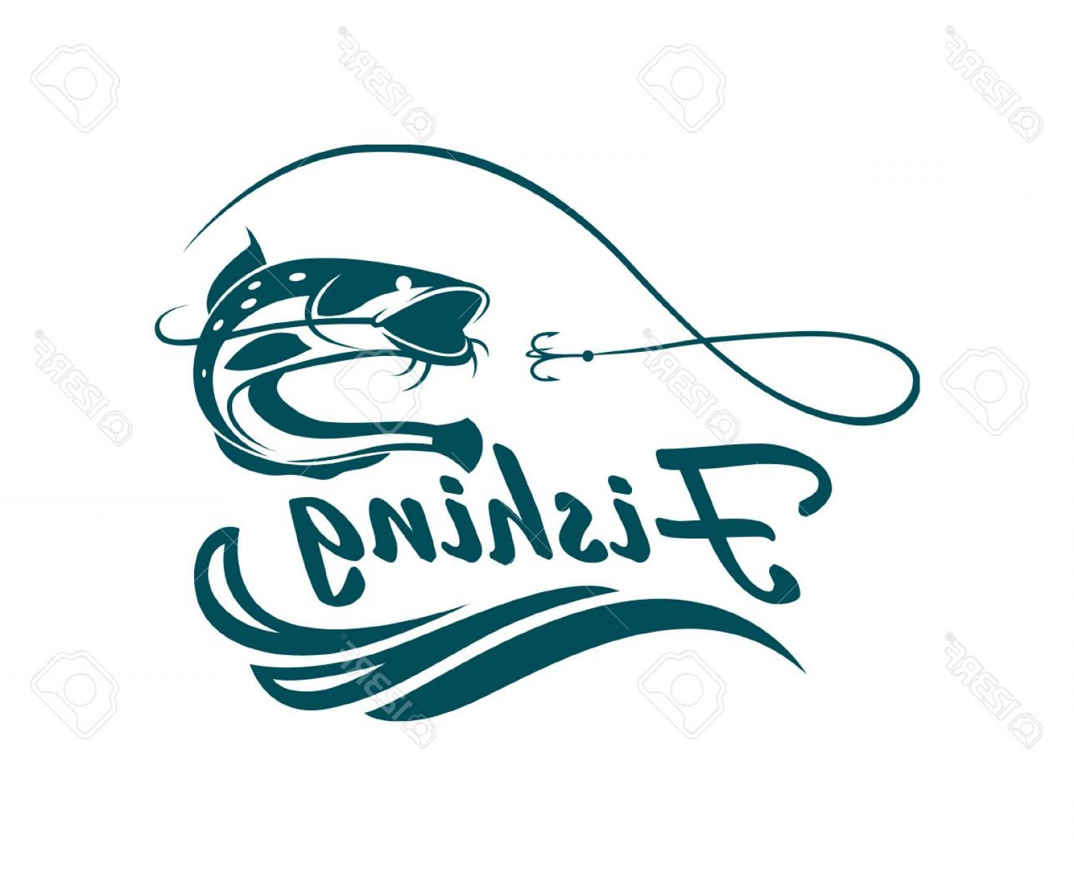 Catfish Vector Logo: Photostock Vector Fishing Emblem With Catfish Waves And Hook