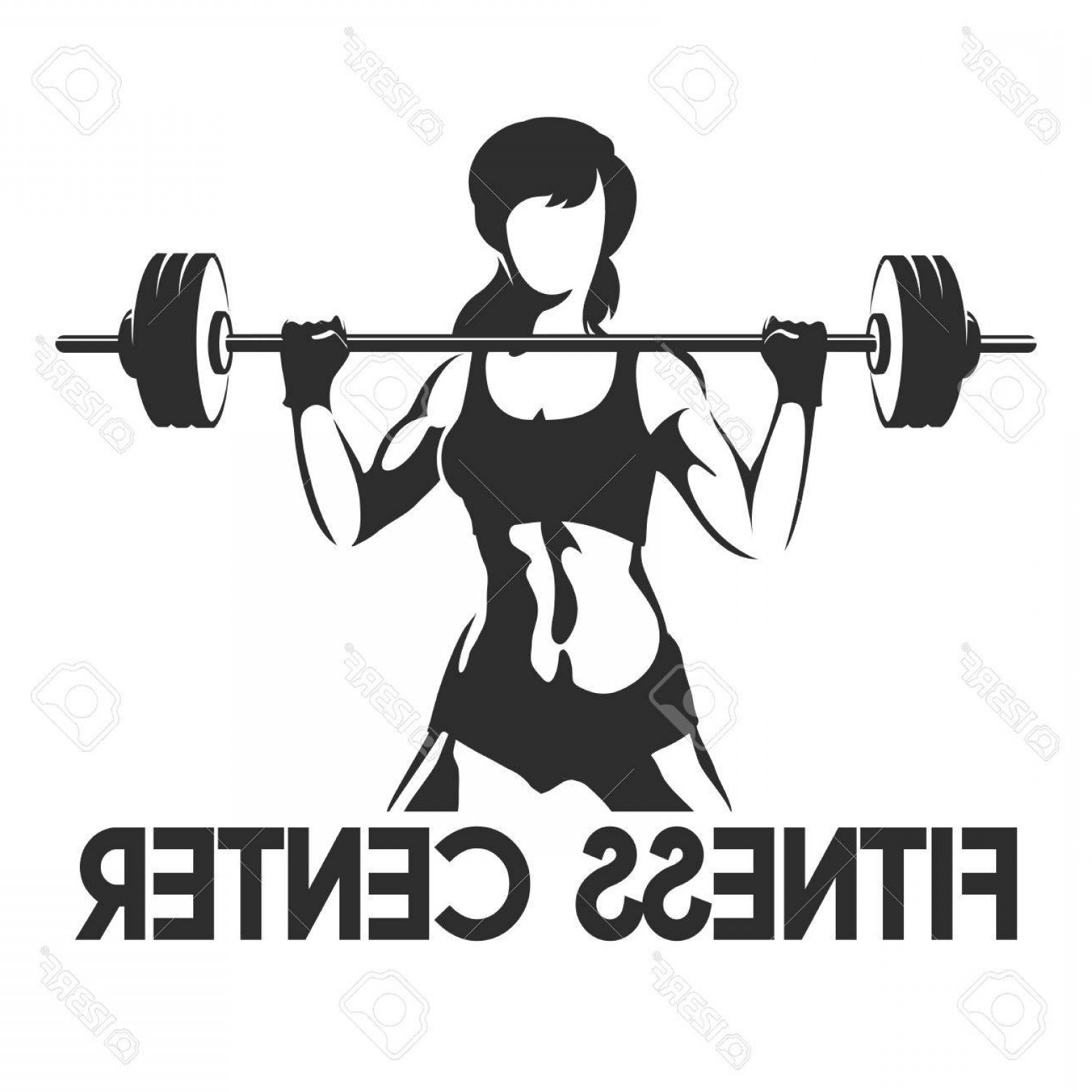 Vector Barbell Press: Photostock Vector Fitness Center Or Gym Emblem Sporty Woman Silhouette With Barbell Power Lifting Exercises Concept