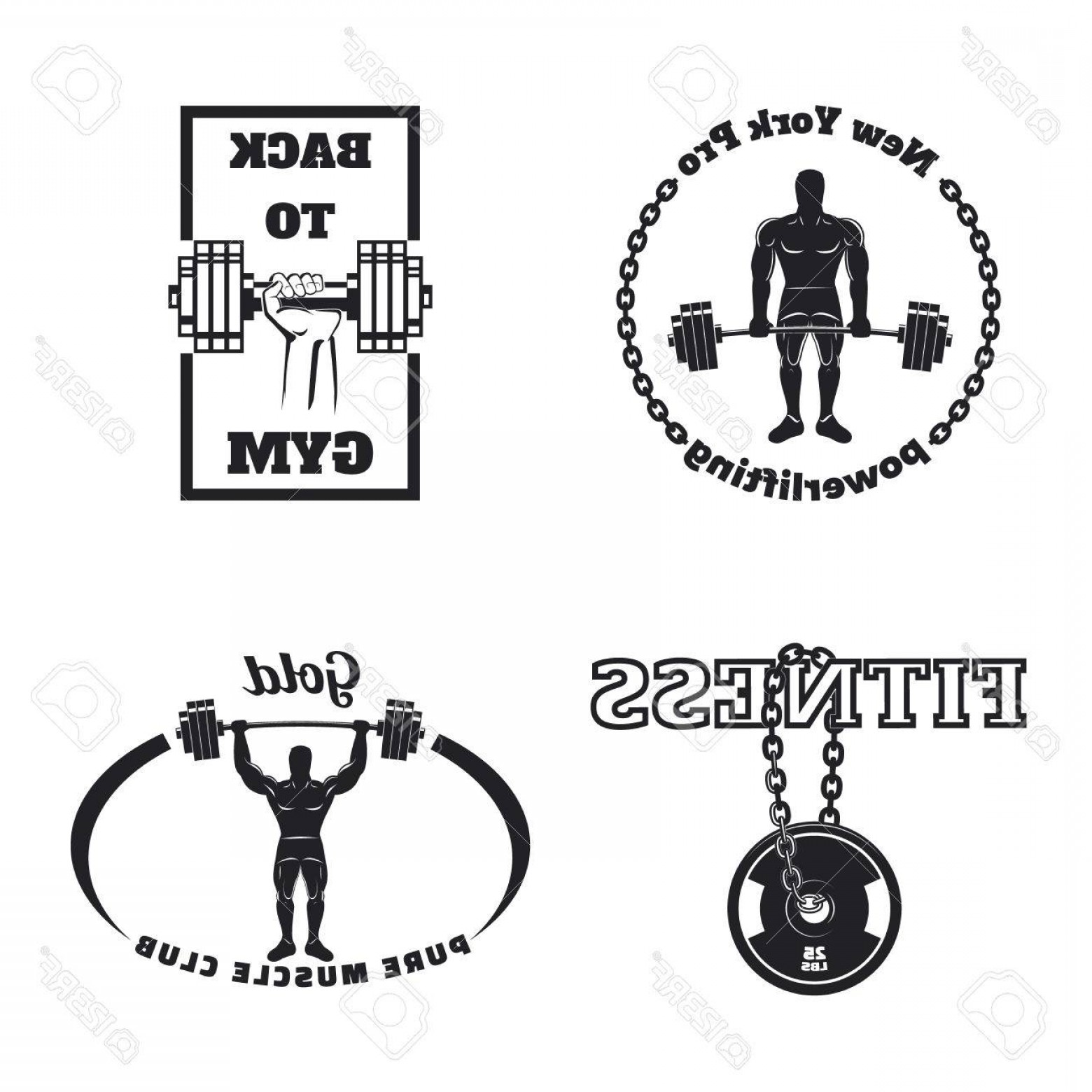 Gold Gym Vector: Photostock Vector Fitness Gym Emblems Labels Badges Icon And Design Elements