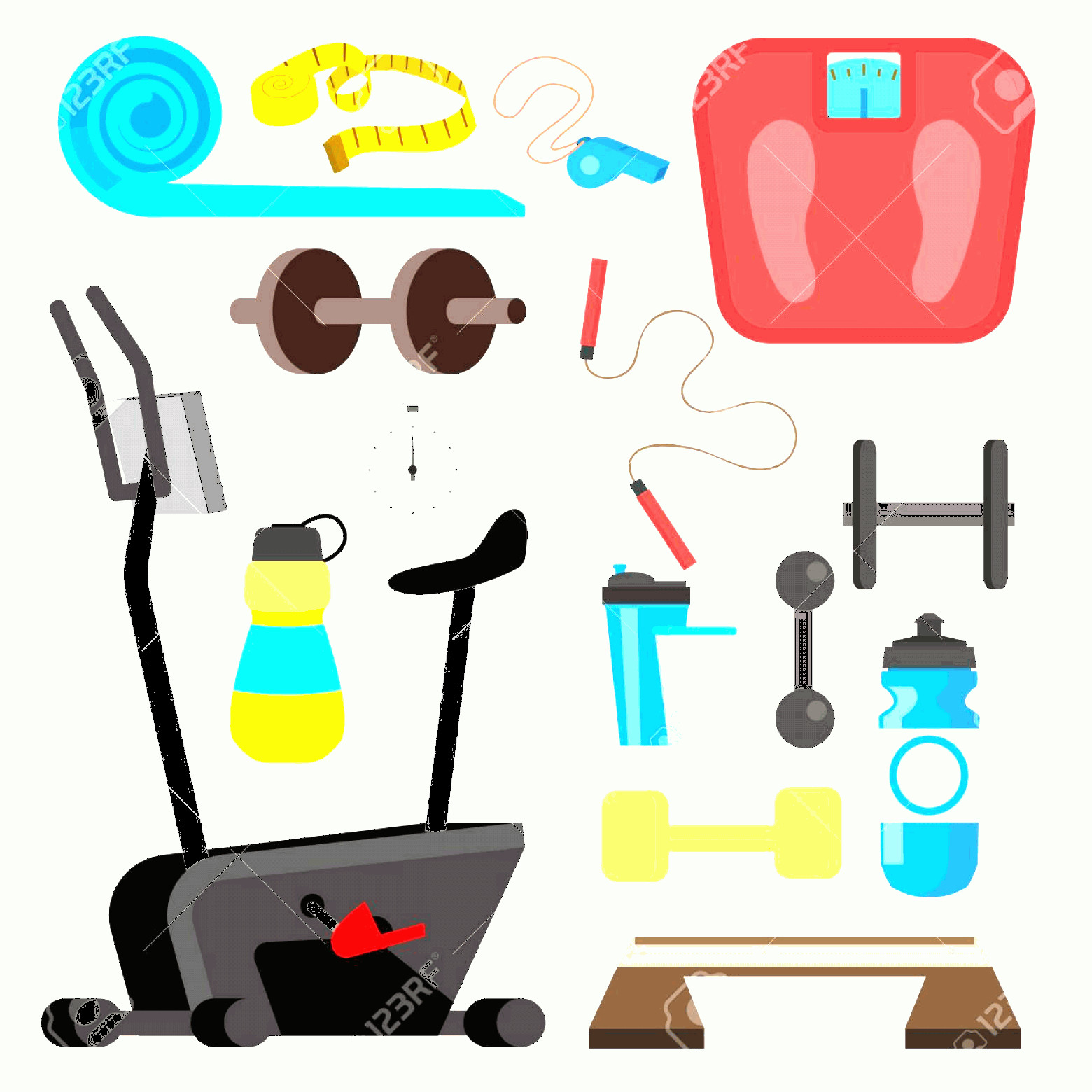 Vector Gym Equipment: Photostock Vector Fitness Icons Vector Simulator Scales Dumbbell Gym Equipment Accessories Isolated Flat Cartoon Illus