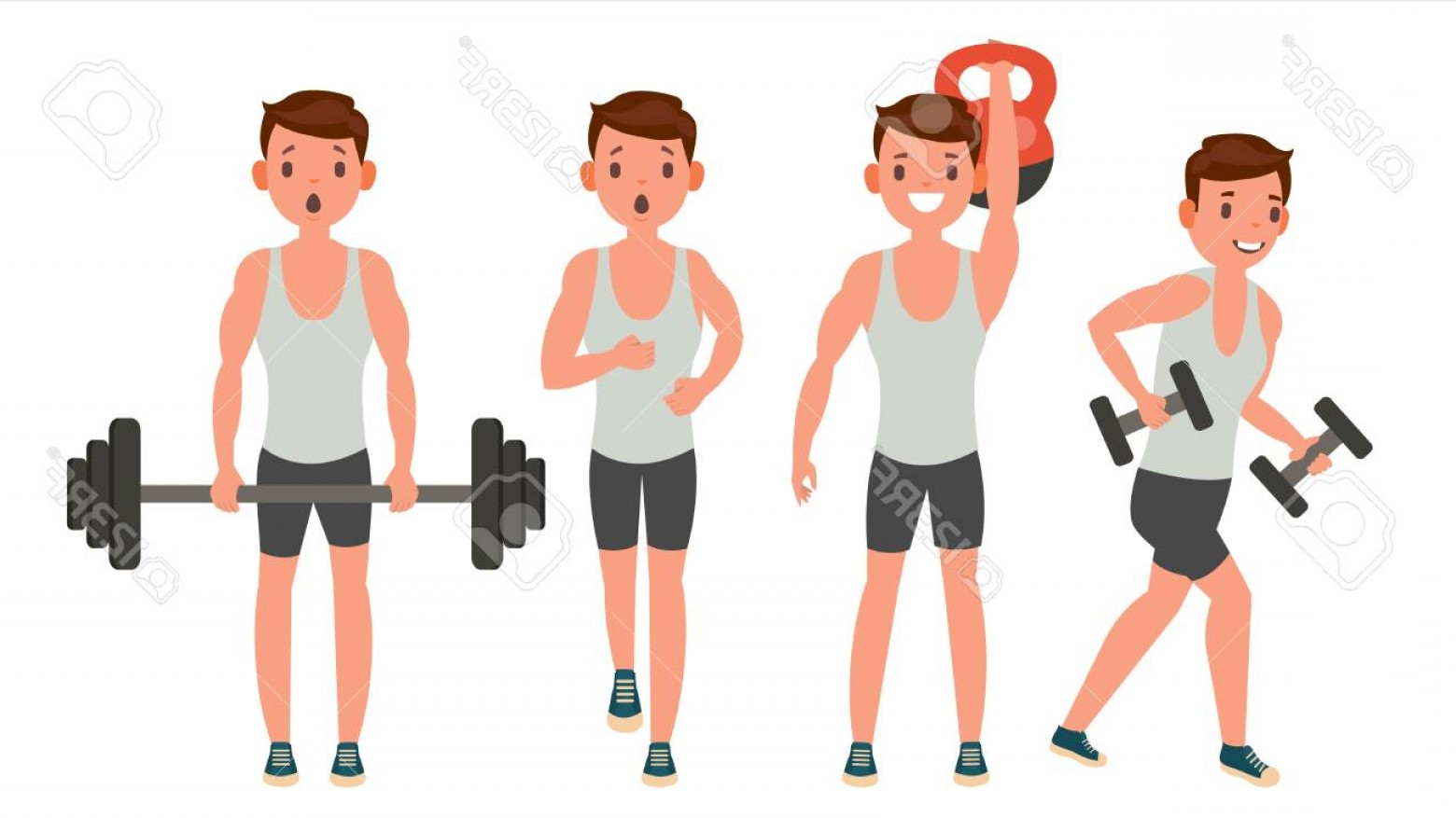Man Vector Exercise: Photostock Vector Fitness Man Vector Different Poses Work Out Active Fitness Flat Cartoon Illustration
