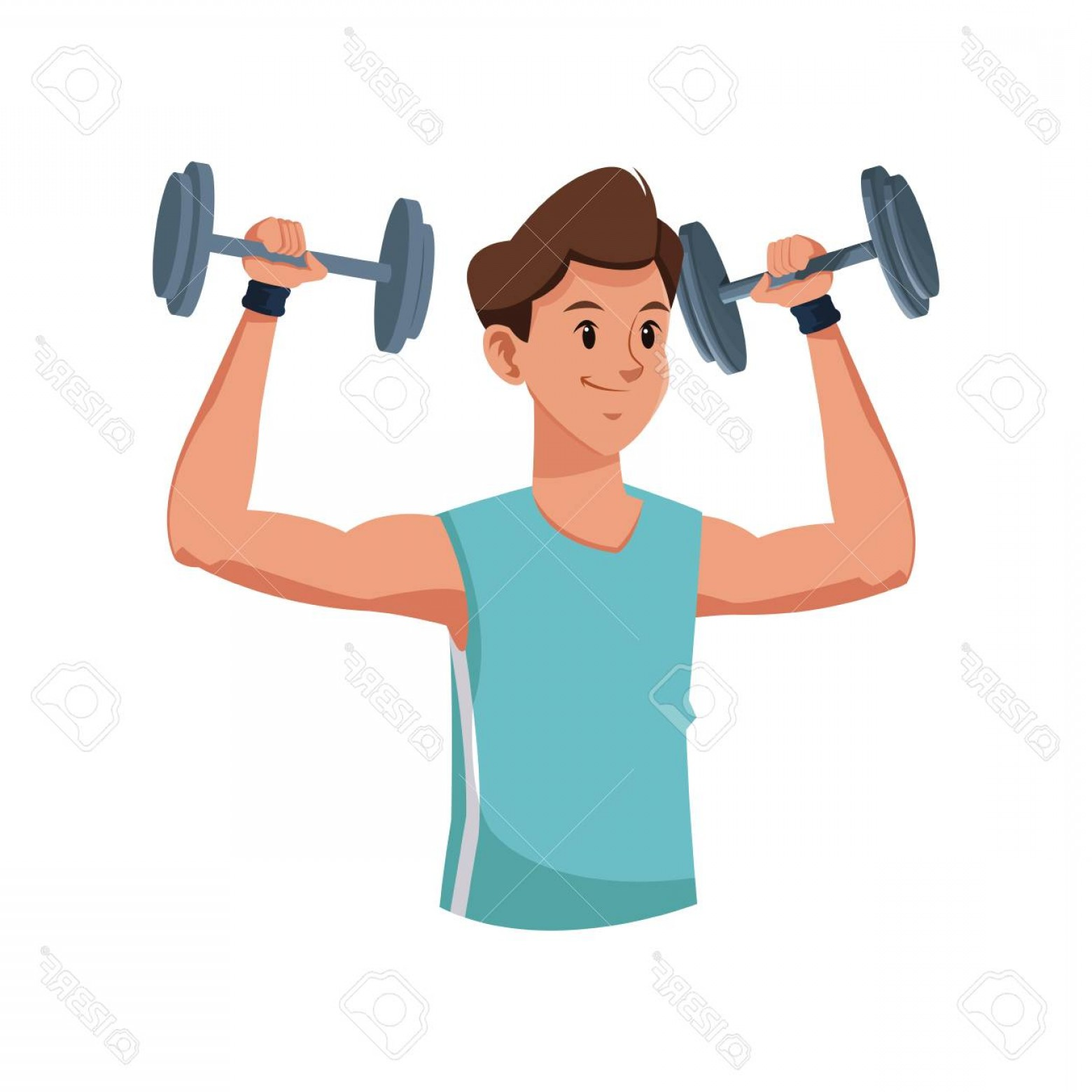 Man Vector Exercise: Photostock Vector Fitness Man Weight Lifting Workout Vector Illustration