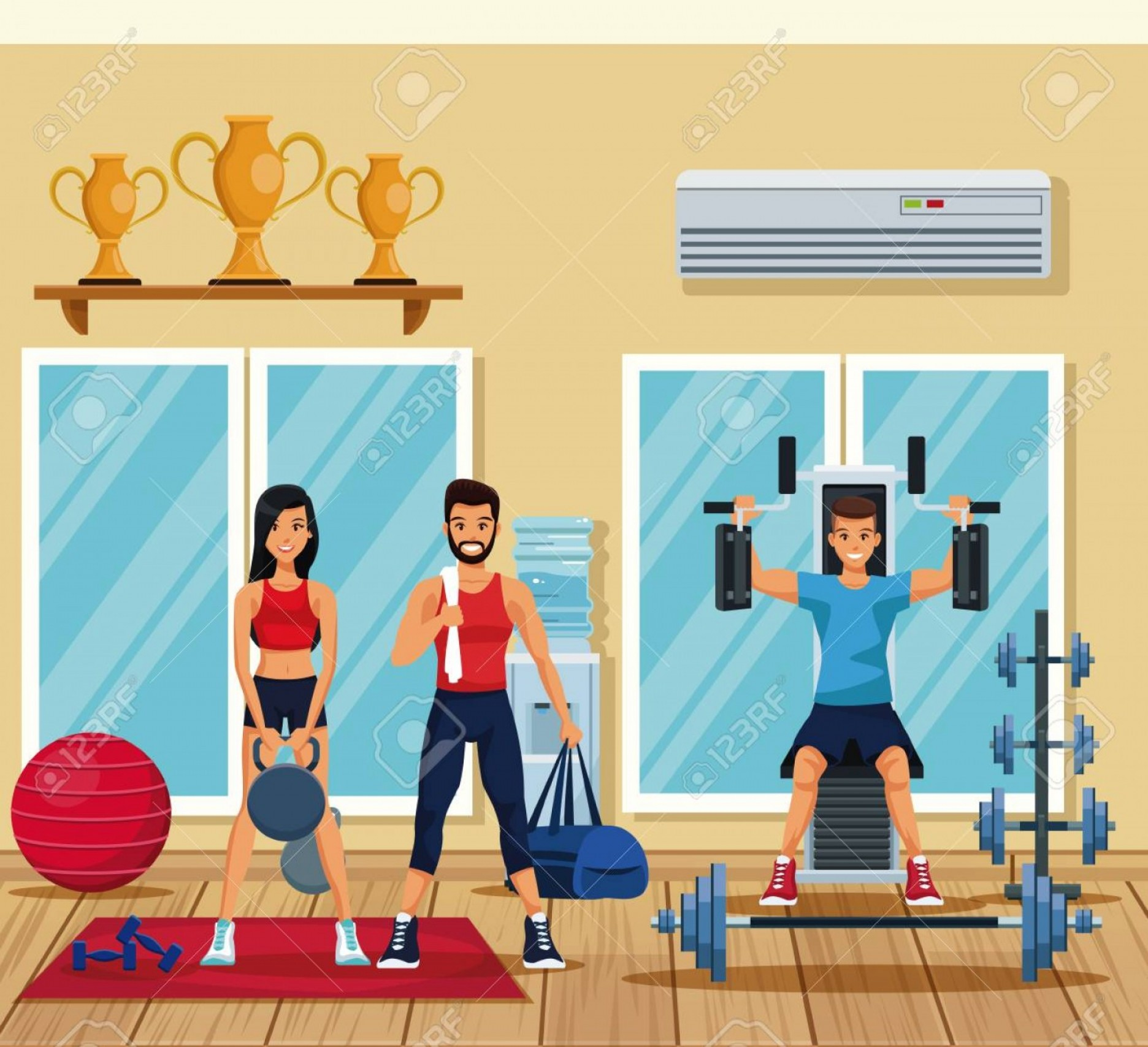 Weight Lifting Vector Graphics: Photostock Vector Fitness People Training Inside Gym Vector Illustration Graphic Design