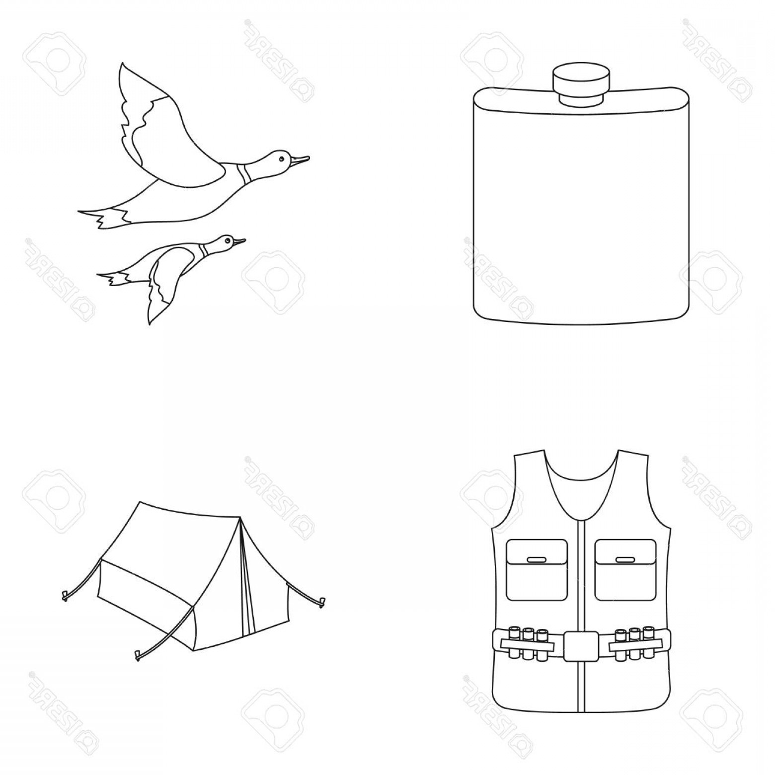 Flying Duck Outline Vector: Photostock Vector Flask Gilet With Cartridges Flying Ducks Tent Hunting Set Collection Icons In Outline Style Vector S
