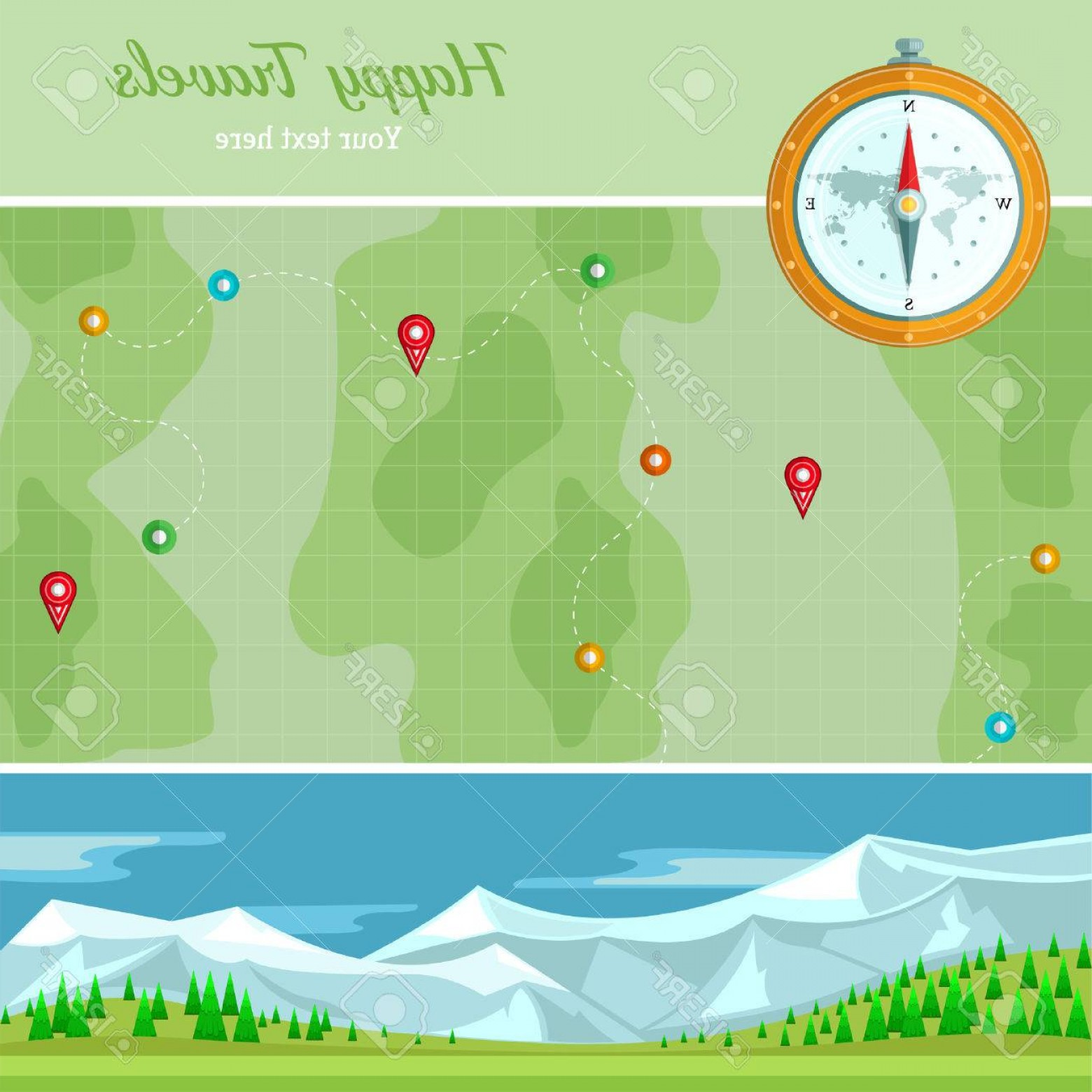 BG Vector Map: Photostock Vector Flat Background Vector Map With Mountains Landscape And Compass