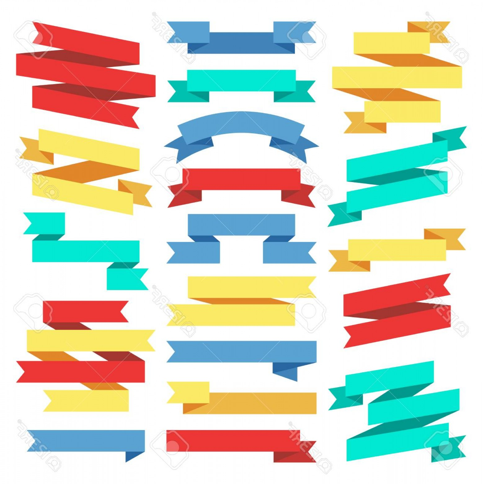 Ribbion Banner Vector: Photostock Vector Flat Banners Ribbons Web Stickers Stock Vector Ribbon Banner In Flat Style Illustration Element Colo