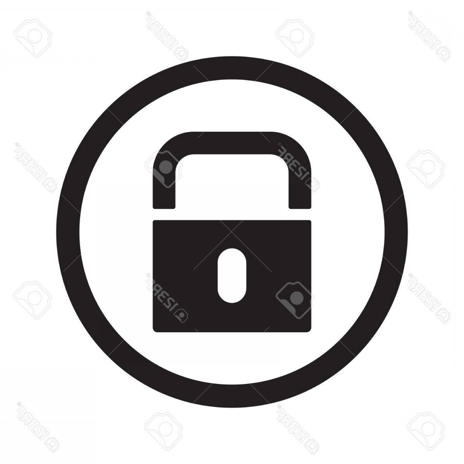 Lock Unlock Icon Vector: Photostock Vector Flat Black Lock Web Icon In Circle On White Background
