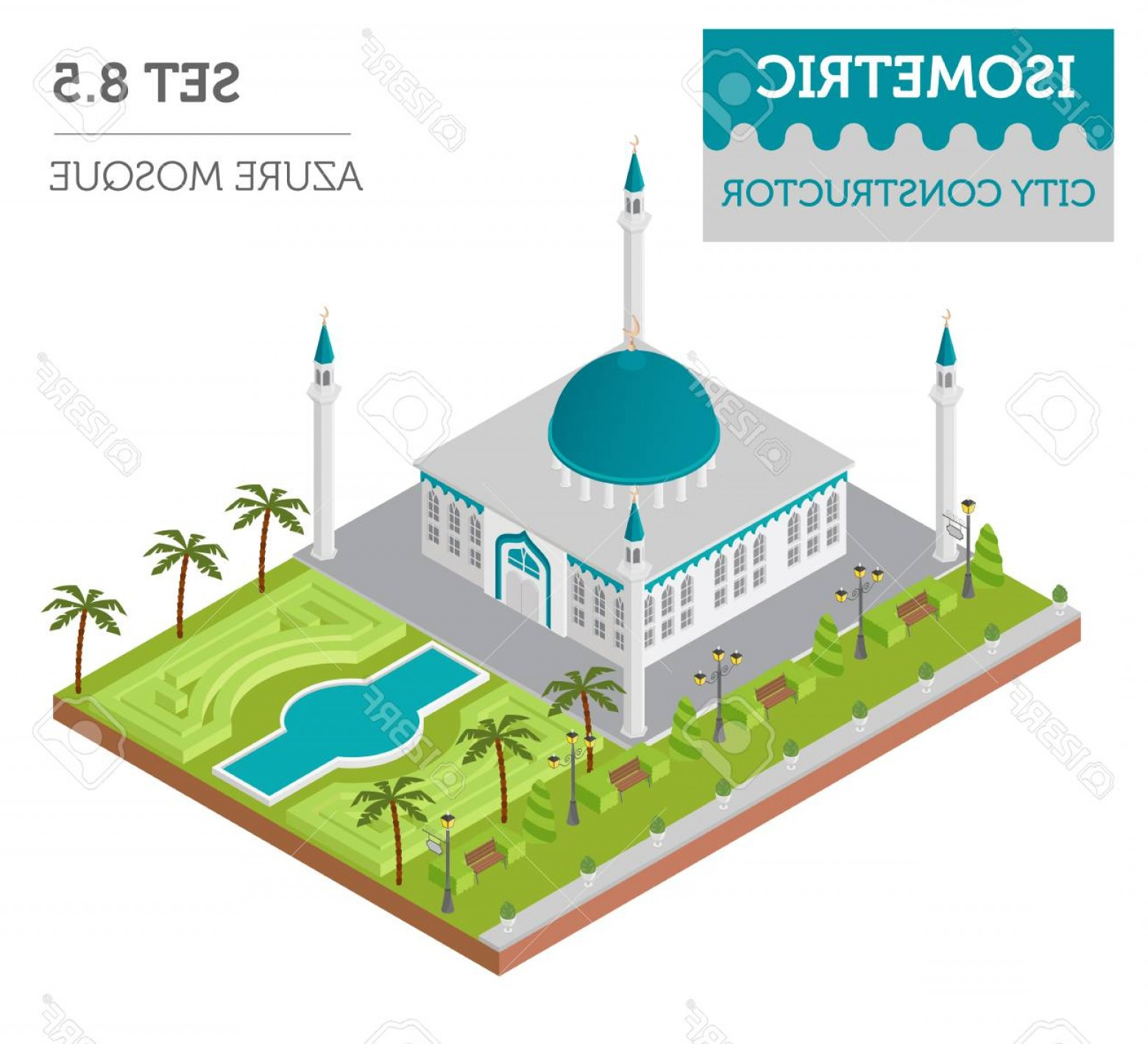 Mosque Vector Map: Photostock Vector Flat D Isometric Islamic Mosque And City Map Constructor Elements Such As Building Minaret Garden I