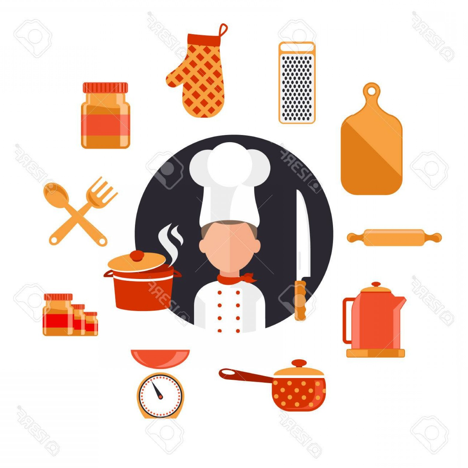 Vector Chef Utensils: Photostock Vector Flat Design Concept Icons Of Kitchen Utensils With A Chef Cooking Tools And Kitchenware Equipment Se