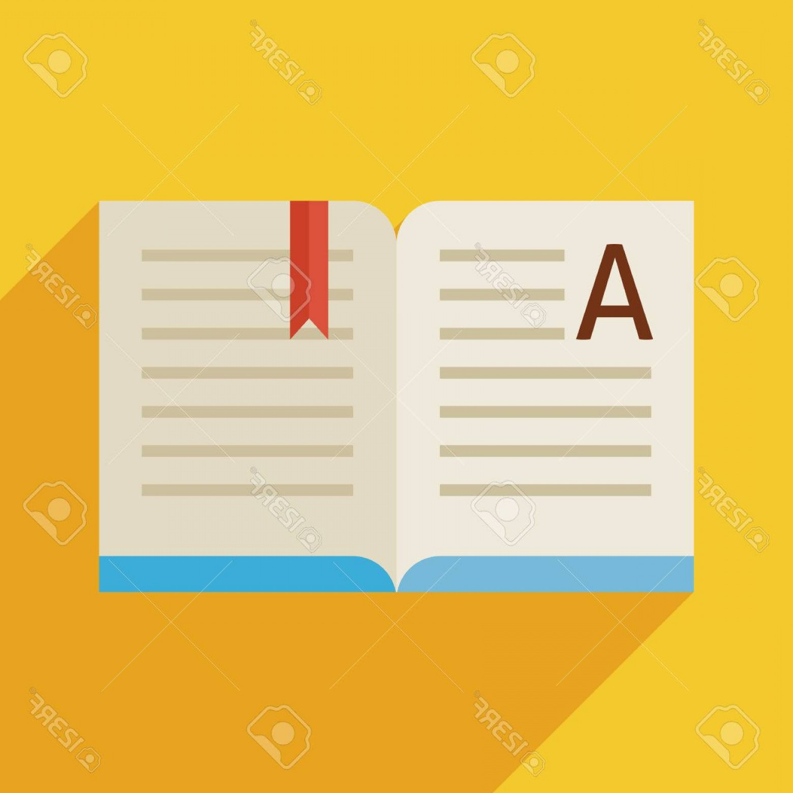 Open Book Vector Flat: Photostock Vector Flat Design Open Book Story Reading Object Back To School And Education Vector Illustration Flat Sty