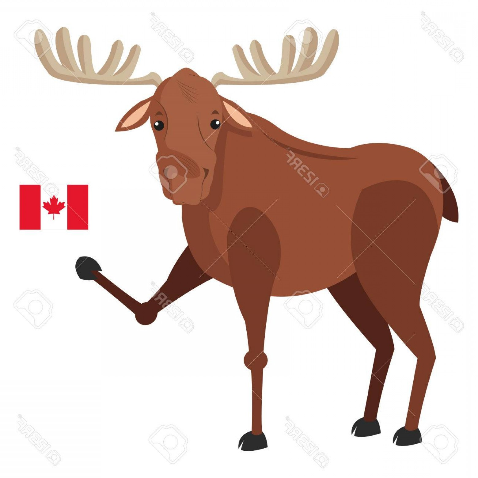 Alaska Moose Vectors: Photostock Vector Flat Design Single Moose With Canadian Flag Icon Illustration