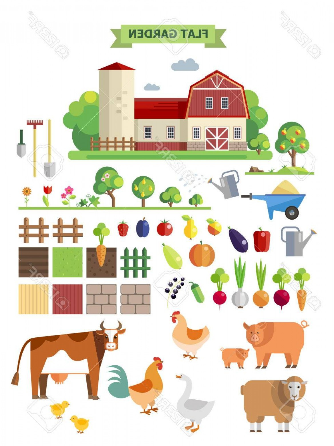 Vector Sprites: Photostock Vector Flat Farm Vector Set Elements For Game Sprites And Tile Sets Vegetables Fruits And Farm Animals