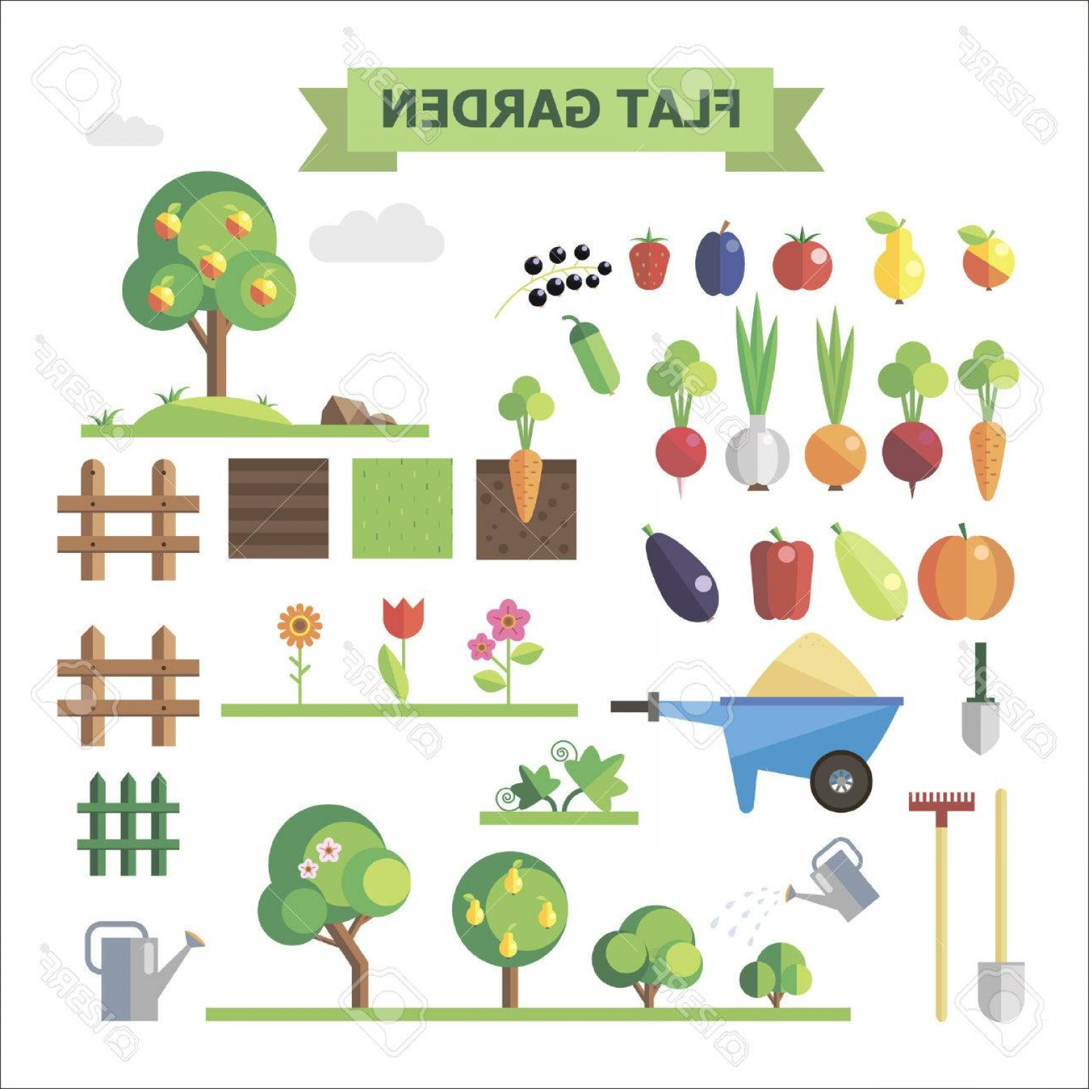 Vector Sprites: Photostock Vector Flat Garden Vector Set Elements For Game Sprites And Tile Sets Vegetables Fruits Trees Groubd Grass