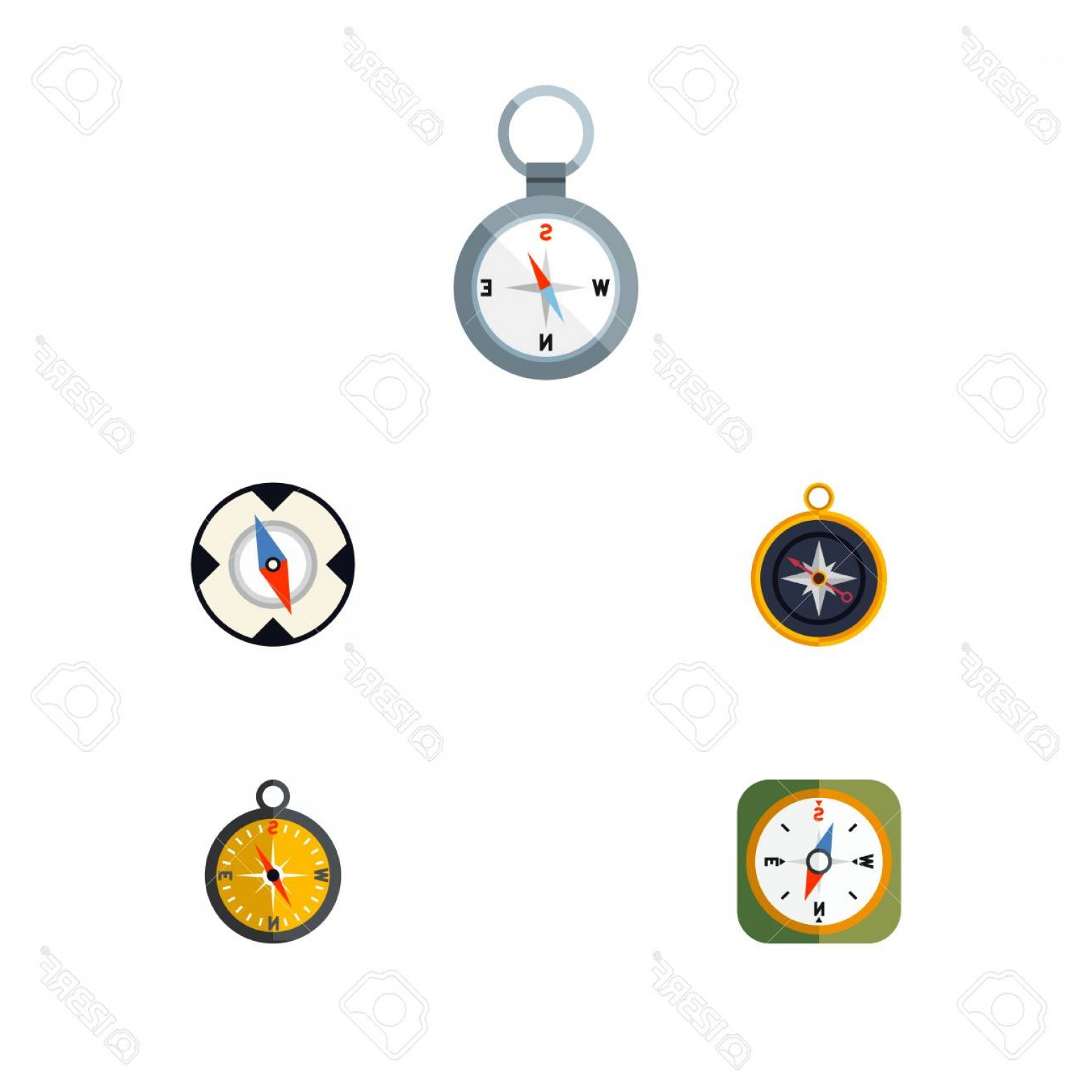 Measurement And Direction Vector: Photostock Vector Flat Icon Compass Set Of Direction Divider Magnet Navigator And Other Vector Objects Also Includes O