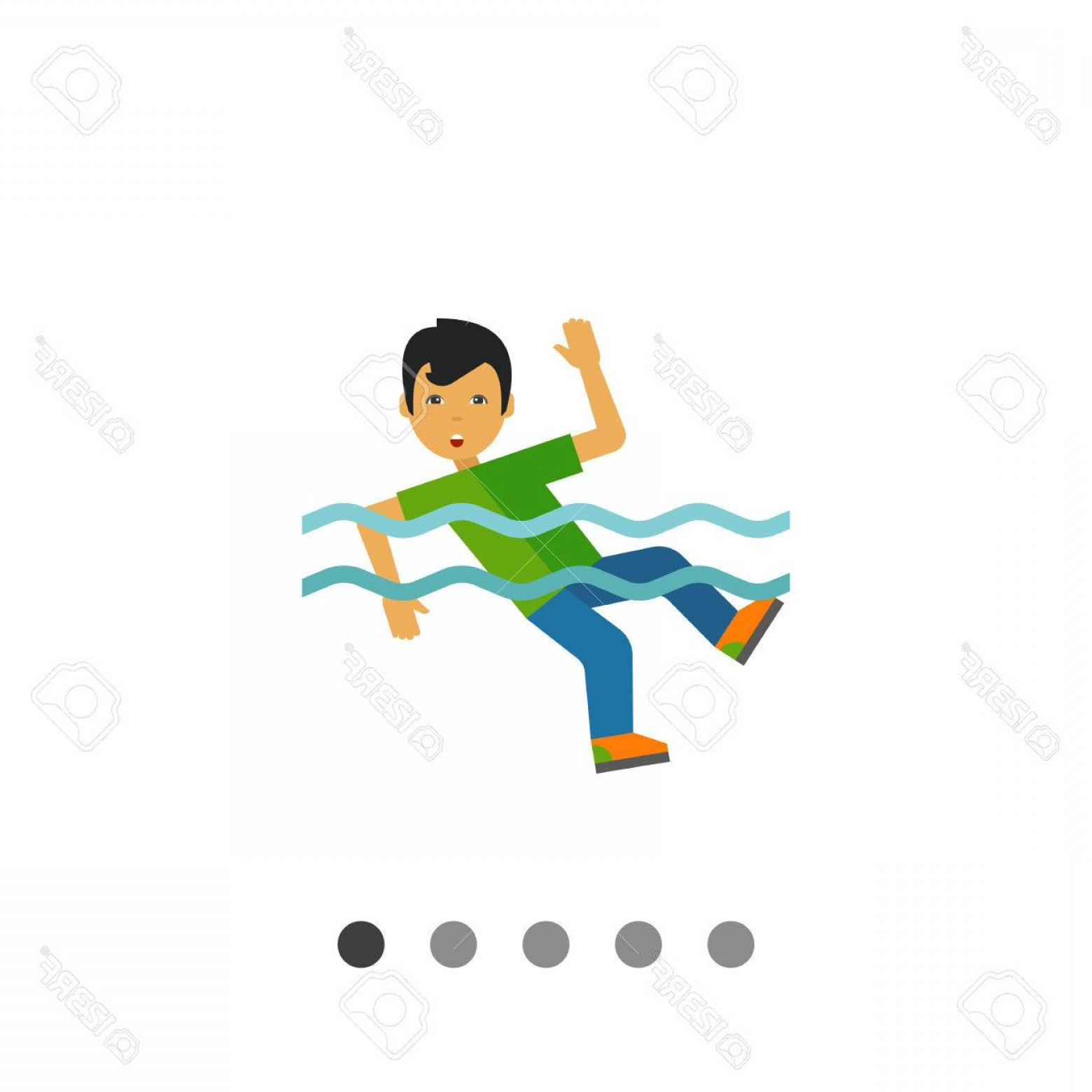 Man Drowning Vector: Photostock Vector Flat Isolated Image Of A Man Drowning In Water