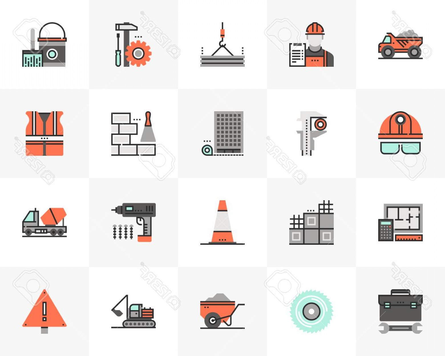Vector Graphic Of Civil Engineering: Photostock Vector Flat Line Icons Set Of Construction Building Civil Engineering Unique Color Flat Design Pictogram Wi