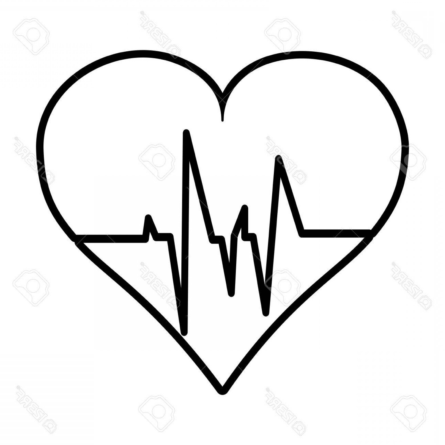 Heart With EKG Line Vector: Photostock Vector Flat Line Uncolored Heart Ecg Over White Background Vector Illustration