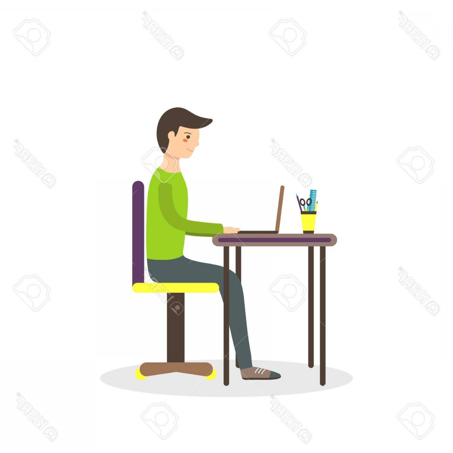Ways To Write Vector BA: Photostock Vector Flat Style Man Student Sitting On The Chair With Laptop On The Table And Writing His Dissertation Ba