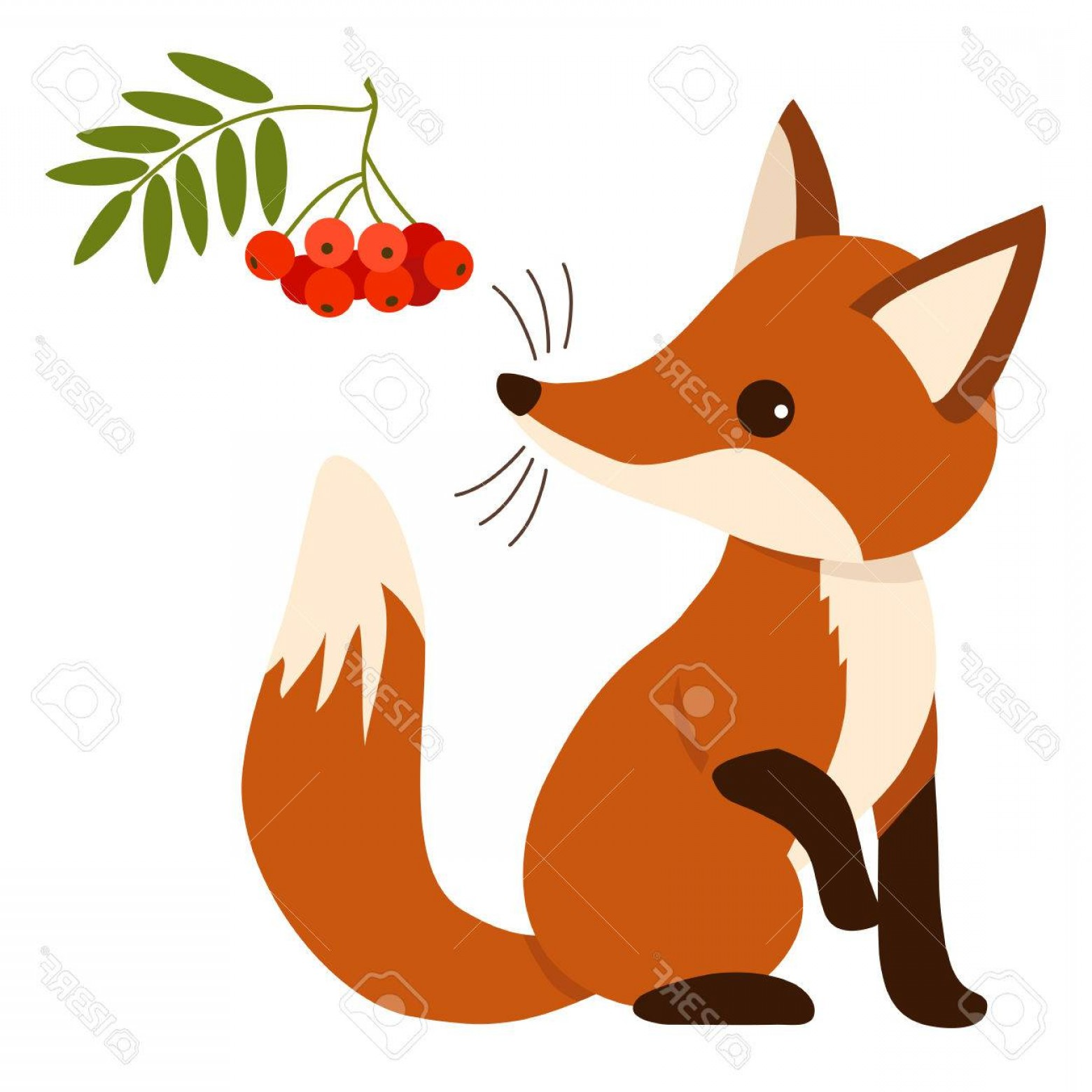 Sitting Fox Logo Vector: Photostock Vector Flat Vector Illustration Of A Cute Sitting Fox Cub Character With Mountain Ash Tree Branch With Leav