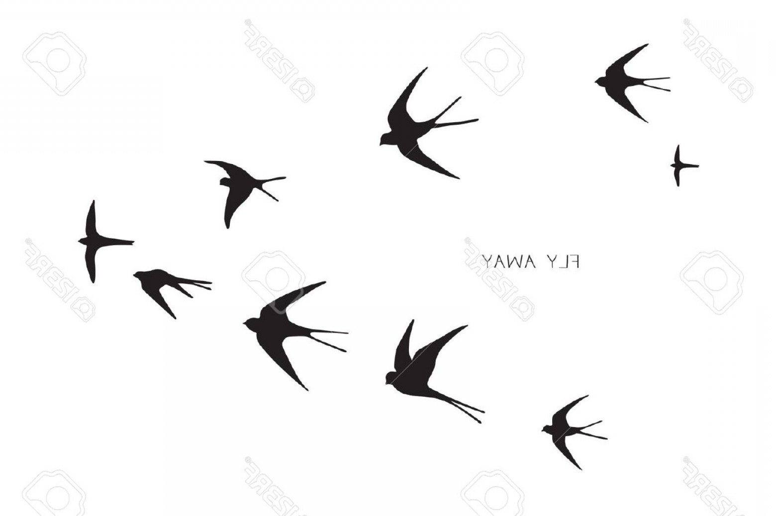 Swallow Vector: Photostock Vector Flock Of Birds Silhouette Swallow Vector Illustration