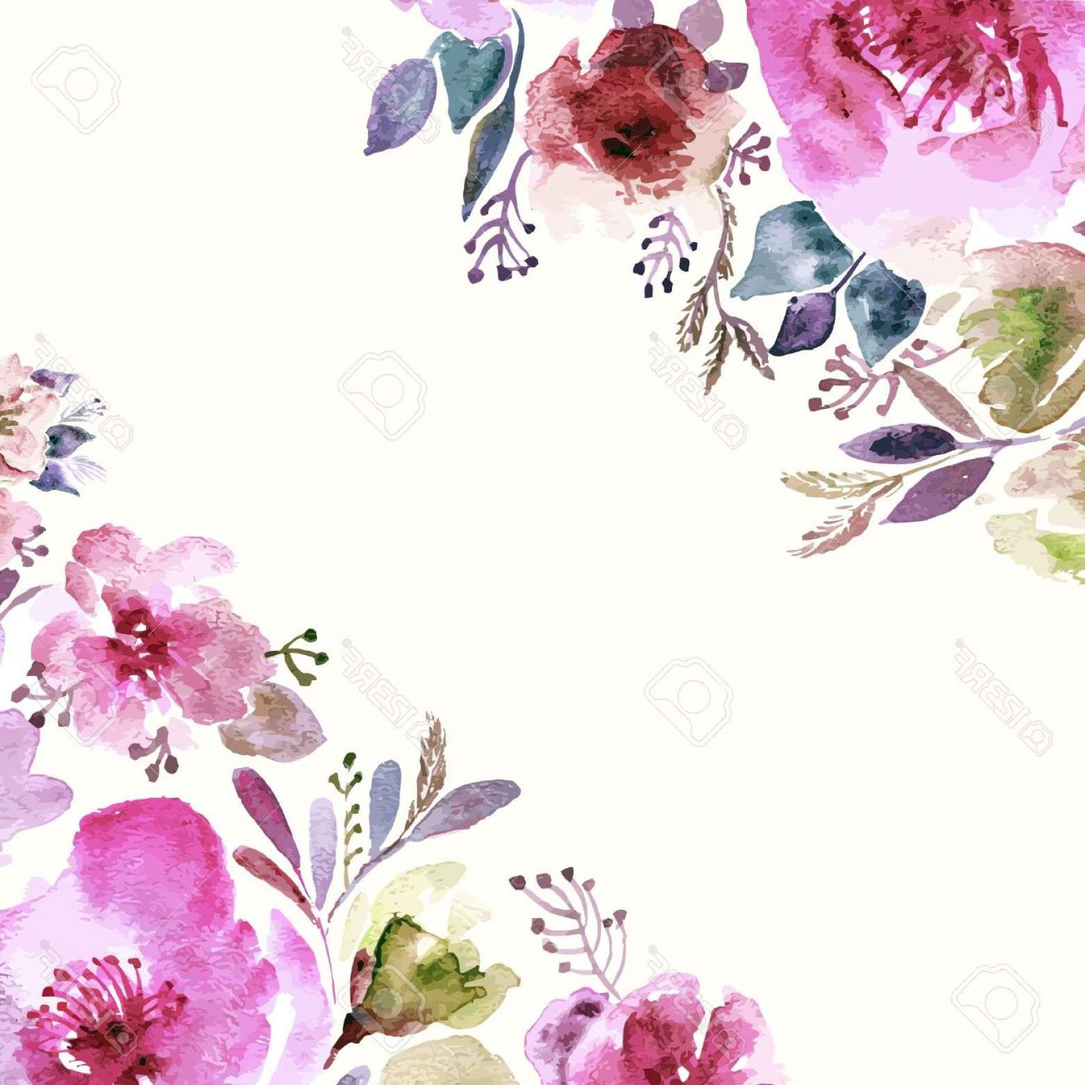 Watercolor Floral Background Vector: Photostock Vector Floral Background Watercolor Floral Bouquet Birthday Card Floral Decorative Frame