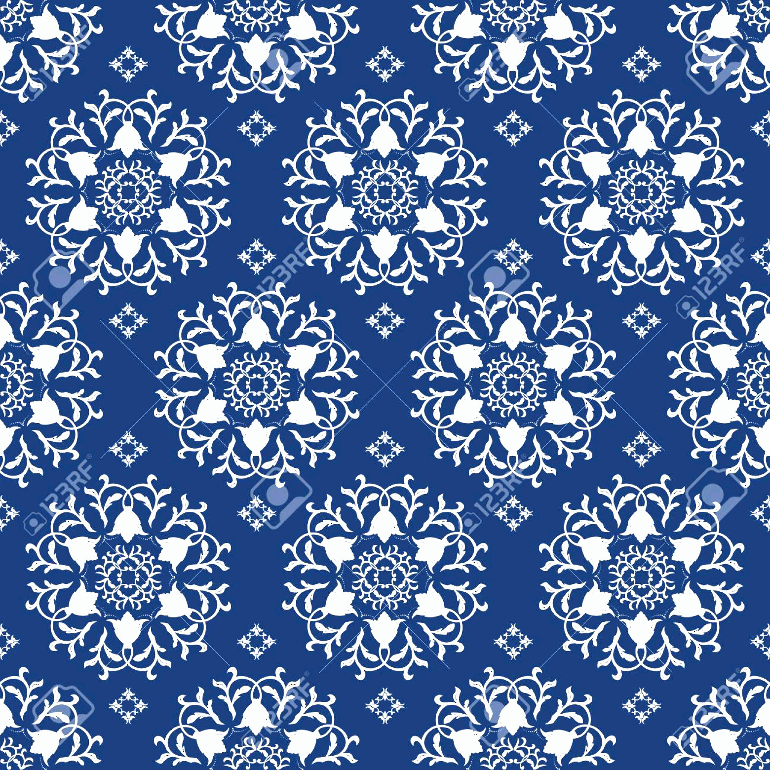 Blue And White Damask Vectors: Photostock Vector Floral Pattern Wallpaper Baroque Damask Seamless Vector Background Dark Blue And White Ornament
